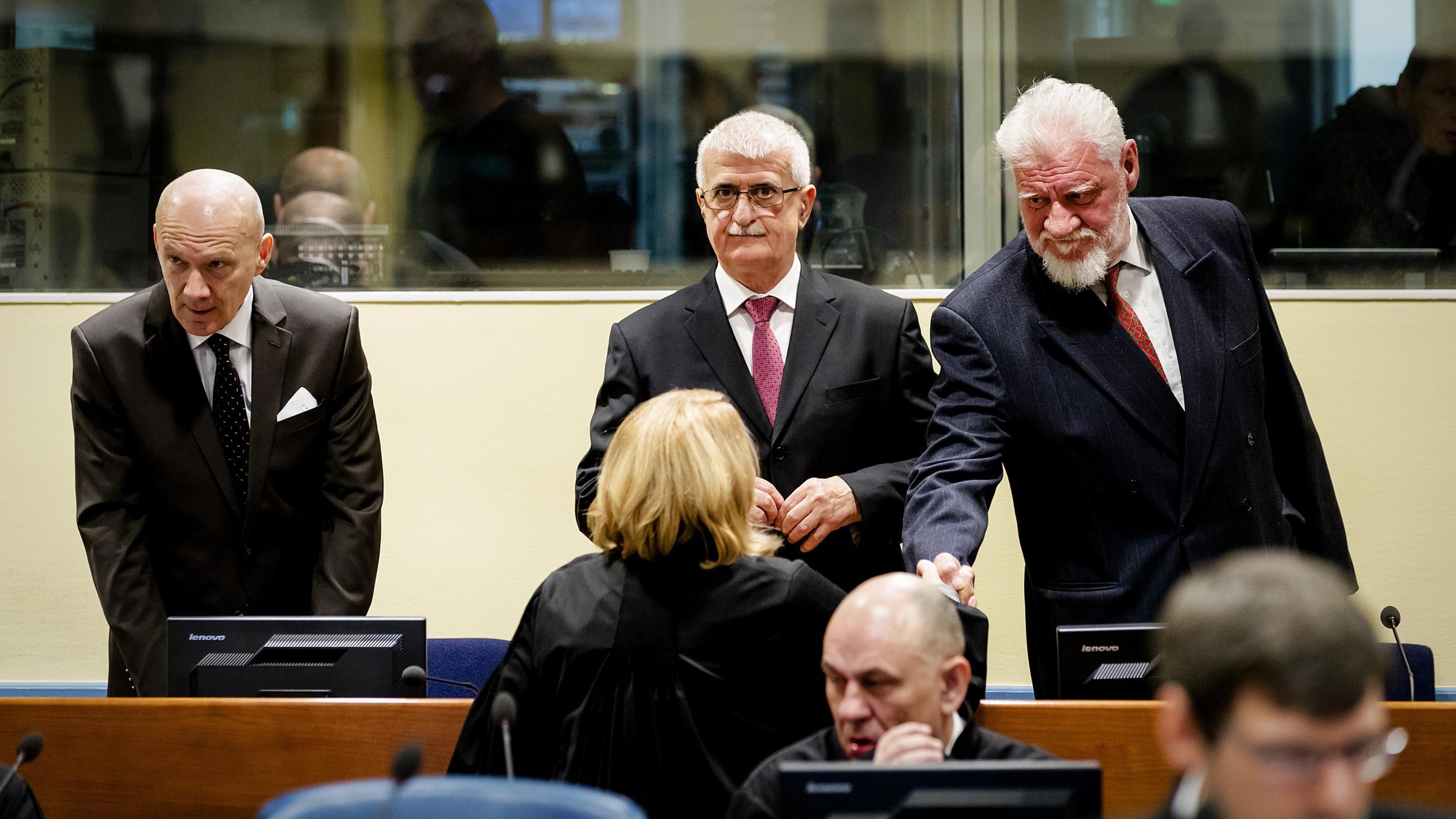 Jadranko Prlic Bruno Stojic and Slobodan Praljak from left enter the Yugoslav War Crimes Tribunal in The Hague Netherlands on Wednesday