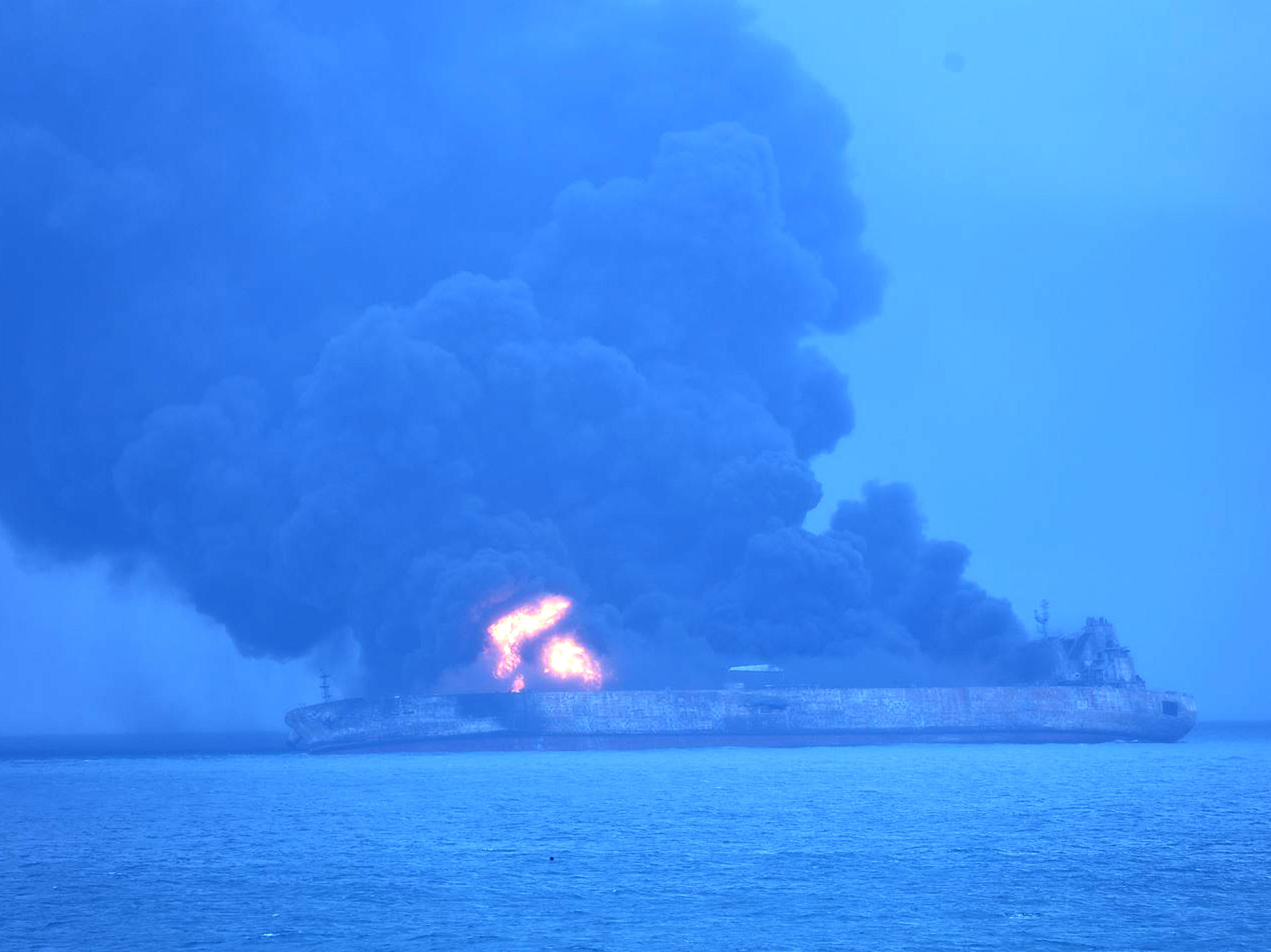 Iranian oil tanker on fire in East China Sea - 32 crew missing