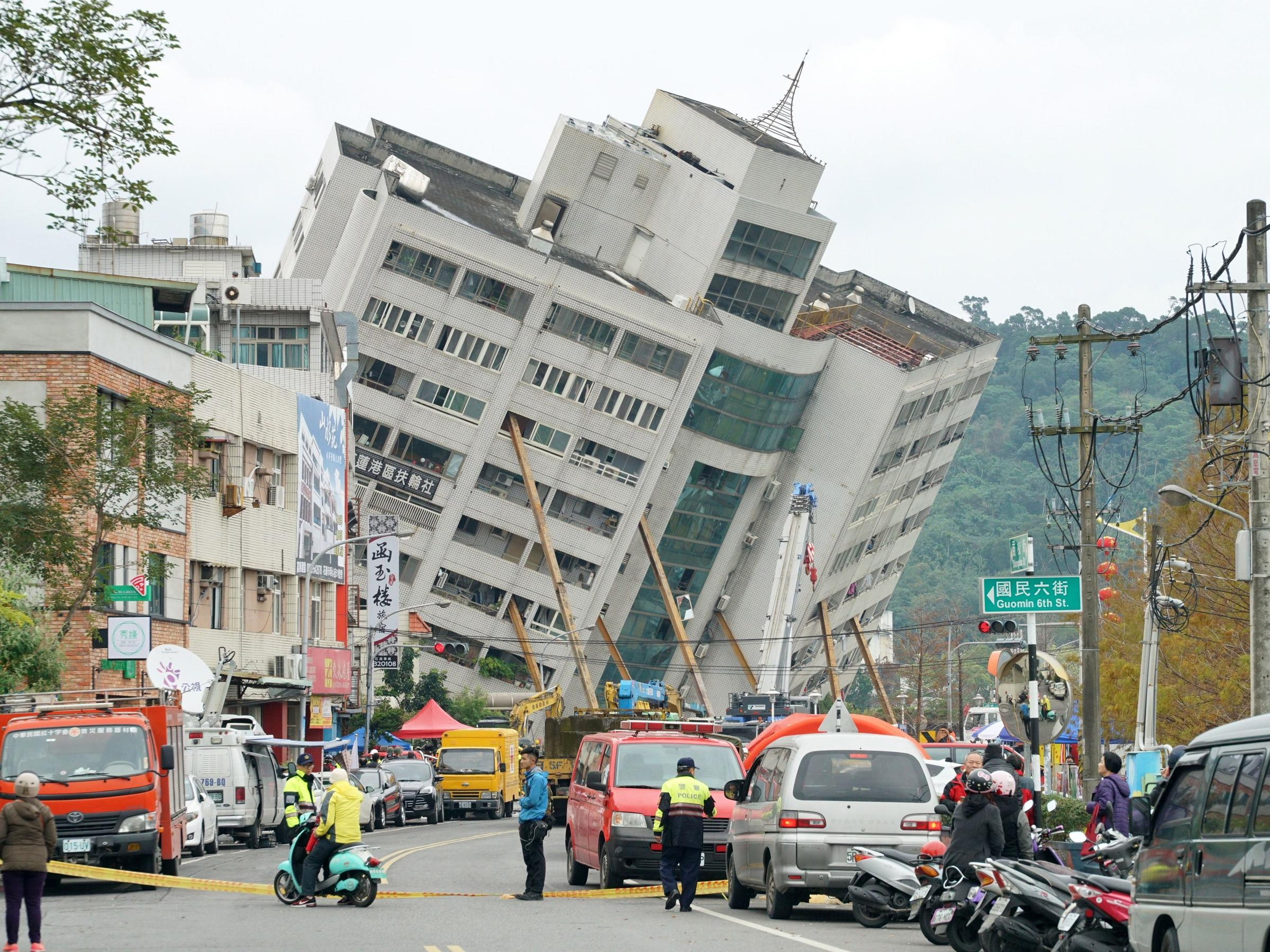 People believed trapped under toppled hotel after 6.4 magnitude quake shakes Taiwan