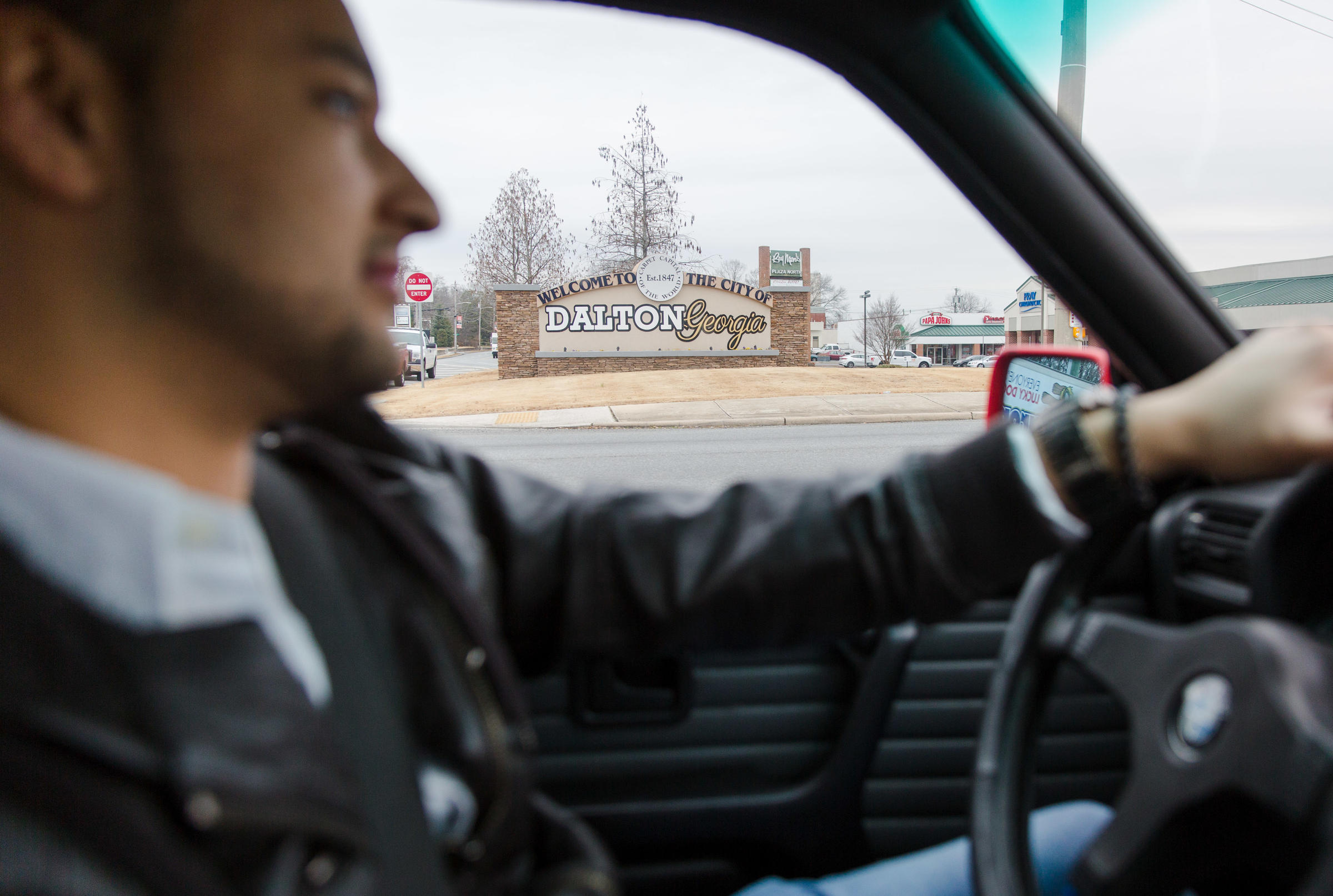 Olvera 26 behind the wheel in Dalton Ga. where he's lived most of his life. Olvera's DACA status allows him to have a driver's license