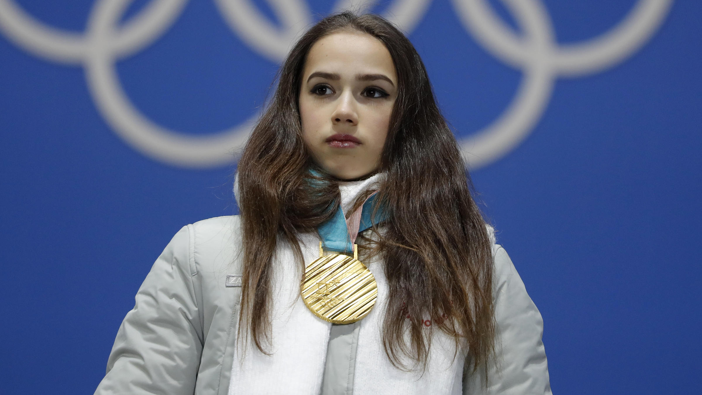 Gold Medalist Figure Skater Alina Zagitova An Olympic Athlete From Russia Heard The Olympics Anthem As She Stood On Podium For Her Medal Ceremony