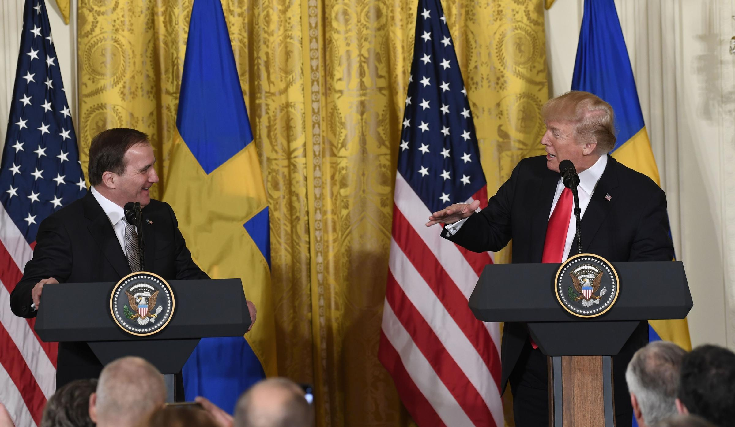 President Trump and Swedish Prime Minister Stefan Löfven hold a joint press conference at the White House on Tuesday