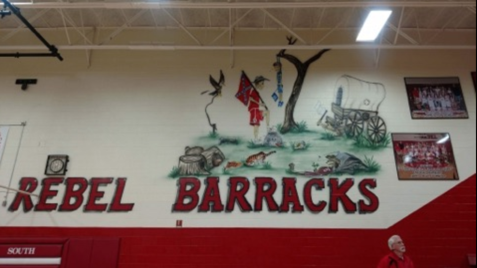 Elementary school mural that seemed to depict a lynching for Elementary school mural