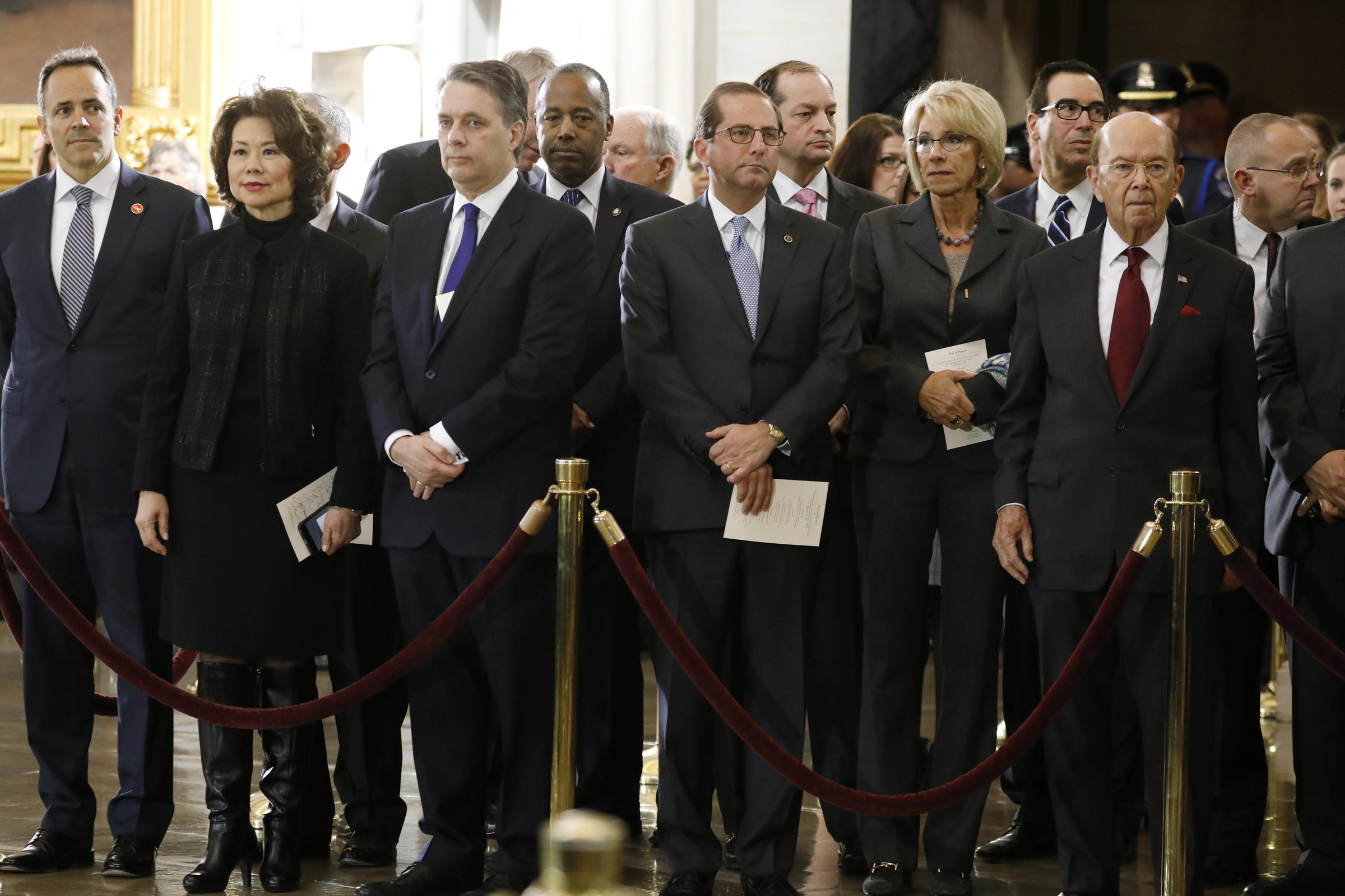 Trump Administration Cabinet Secretaries Attend Ceremonies For Late  Evangelist Billy Graham At The U.S. Capitol On