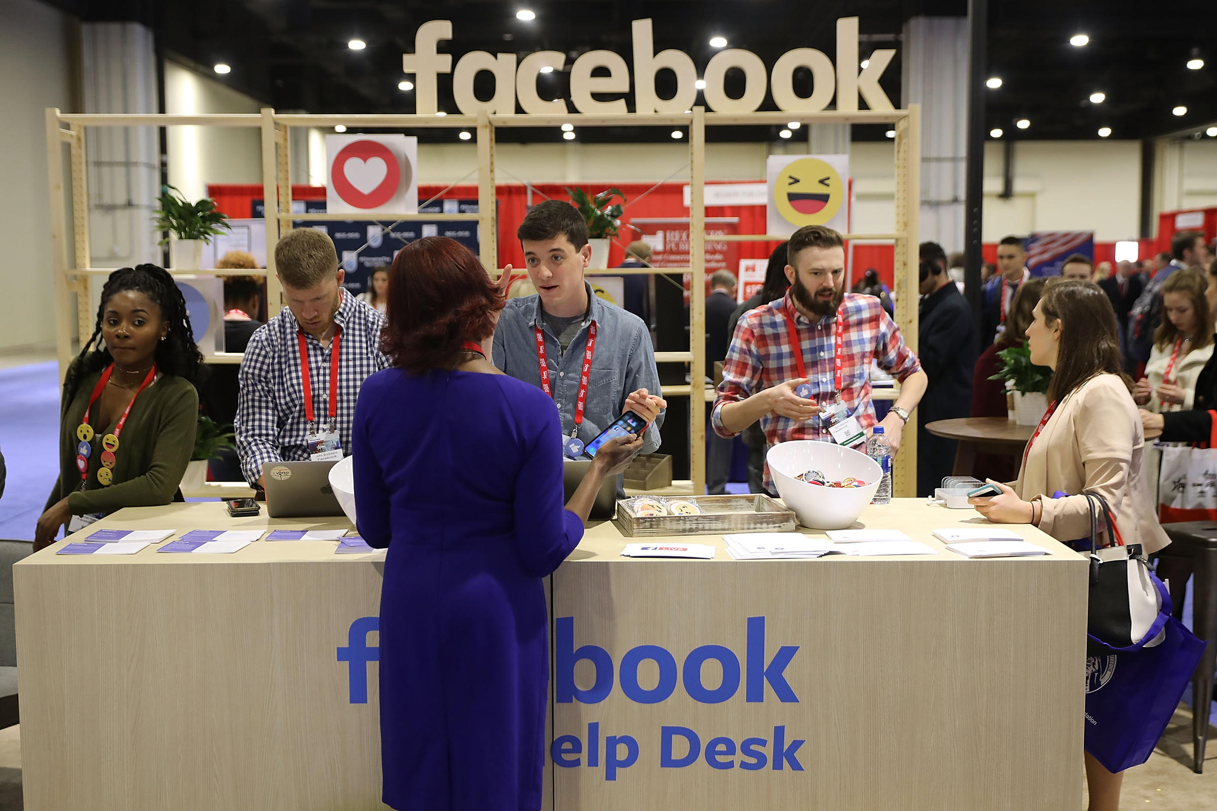Attendees Visit The Facebook Help Desk Inside The Conservative Political  Action Conference Hub At The Gaylord