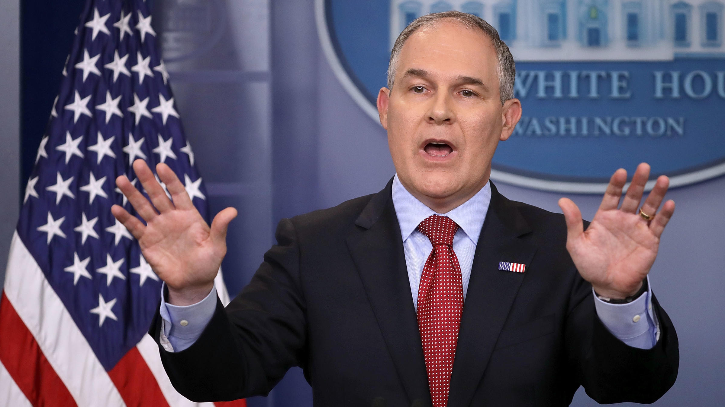 Environmental Protection Agency Administrator Scott Pruitt answers reporters&#039 questions during a briefing at the White House last year