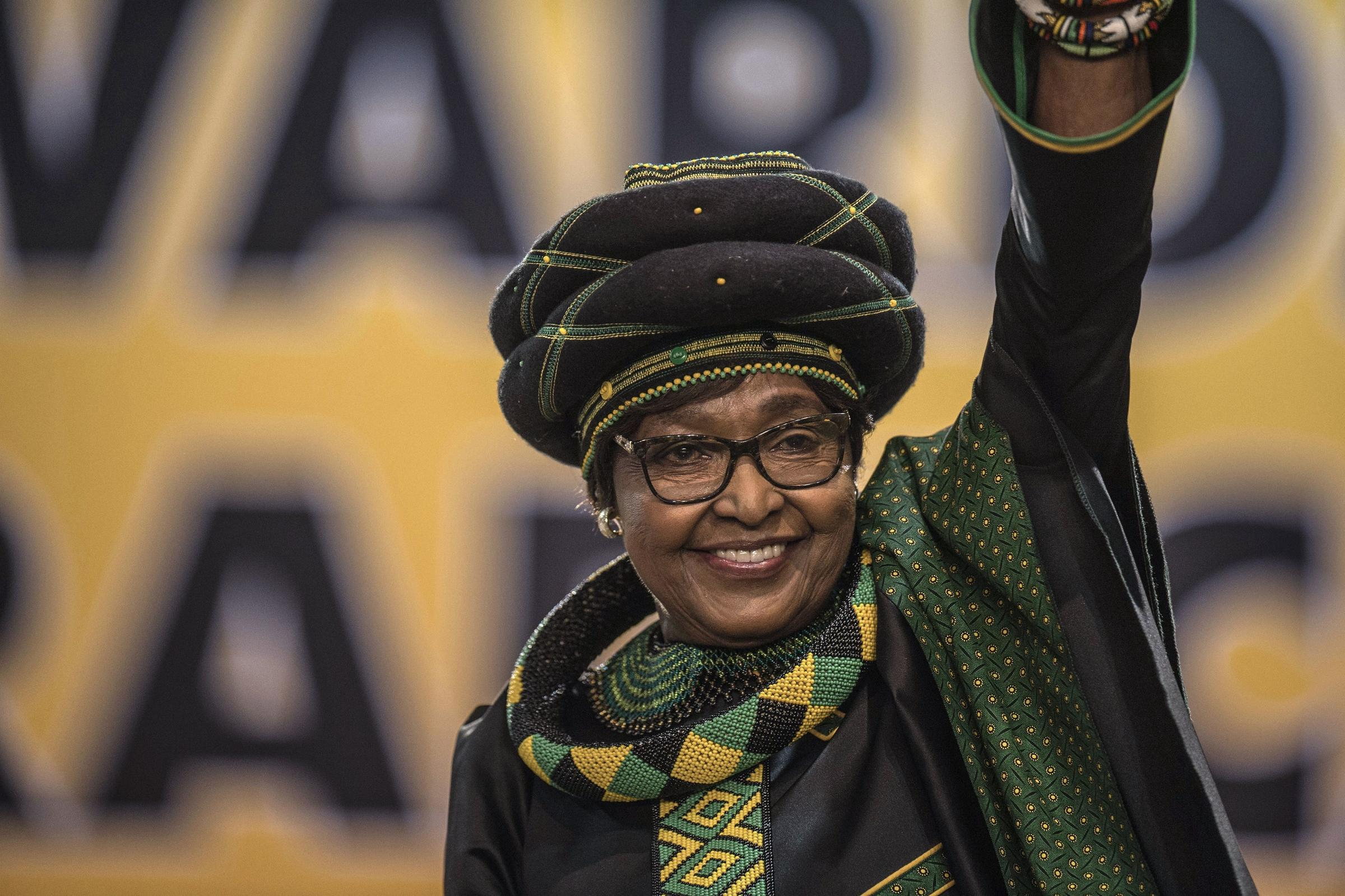 Winnie Madikizela Mandela wearing a doek in Johannesburg in December 2017