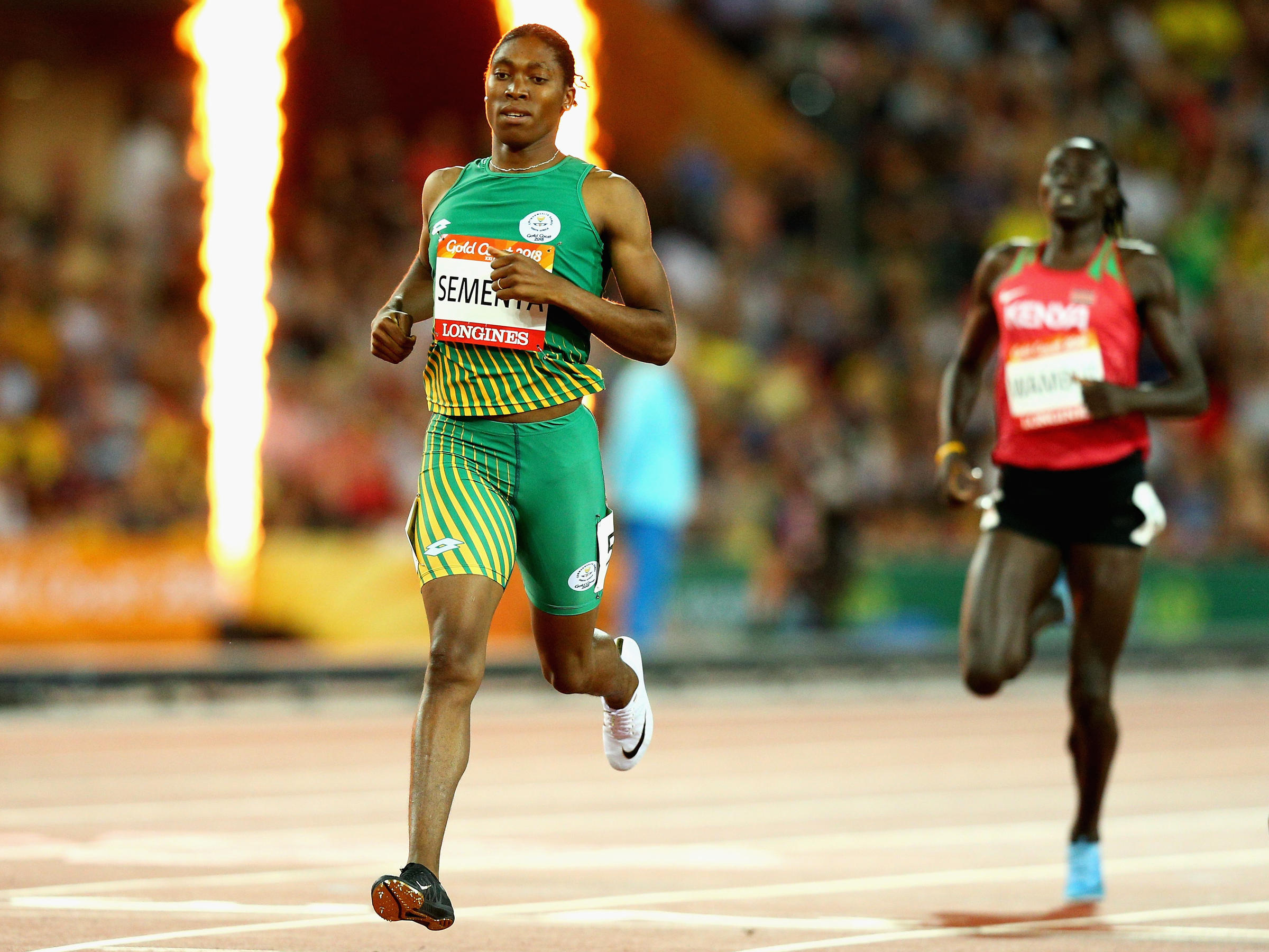 Caster Semenya of South Africa crosses the line to win gold in the Women's  800 meters during athletics on Day 9 of the Gold Coast 2018 Commonwealth  Games in ...