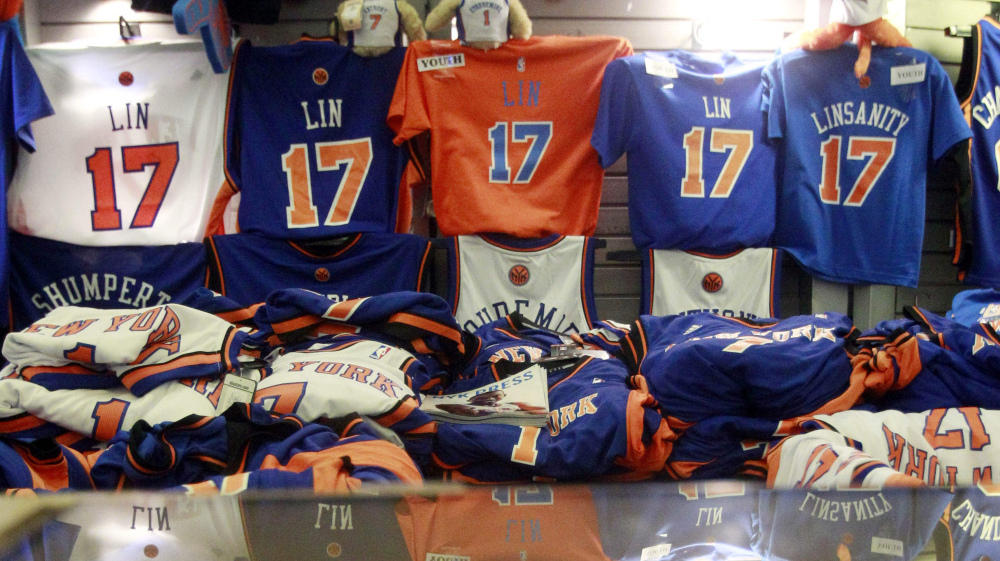 8879585661f0 Jeremy Lin items are for sale before the basketball game between Lin s New  York Knicks and the Sacramento Kings on Wednesday in New York.