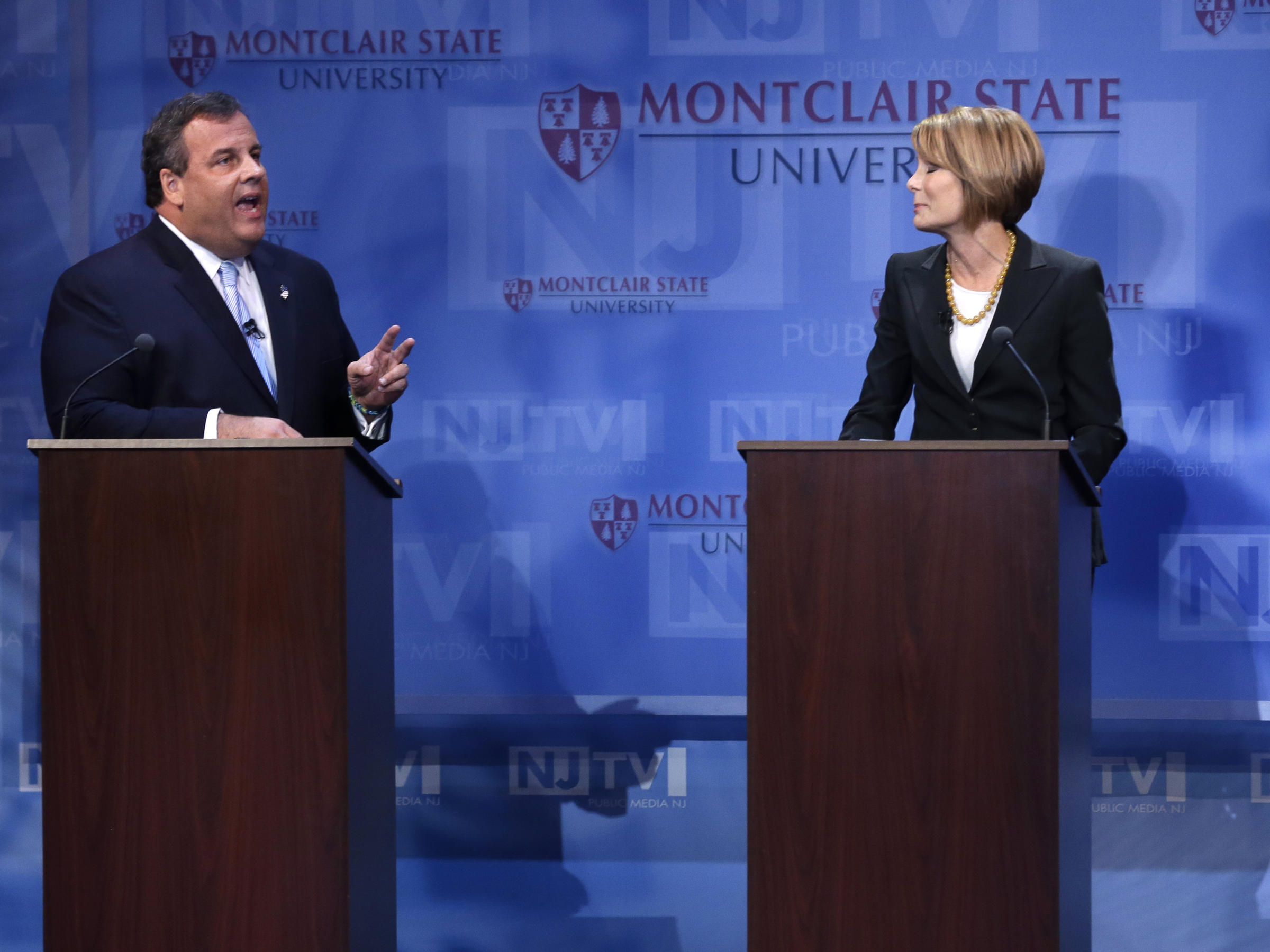 Chris Christie debates Democratic challenger Barbara Buono at Montclair  University in Montclair, N.J., on Tuesday. Christie's decision not to fight  gay ...