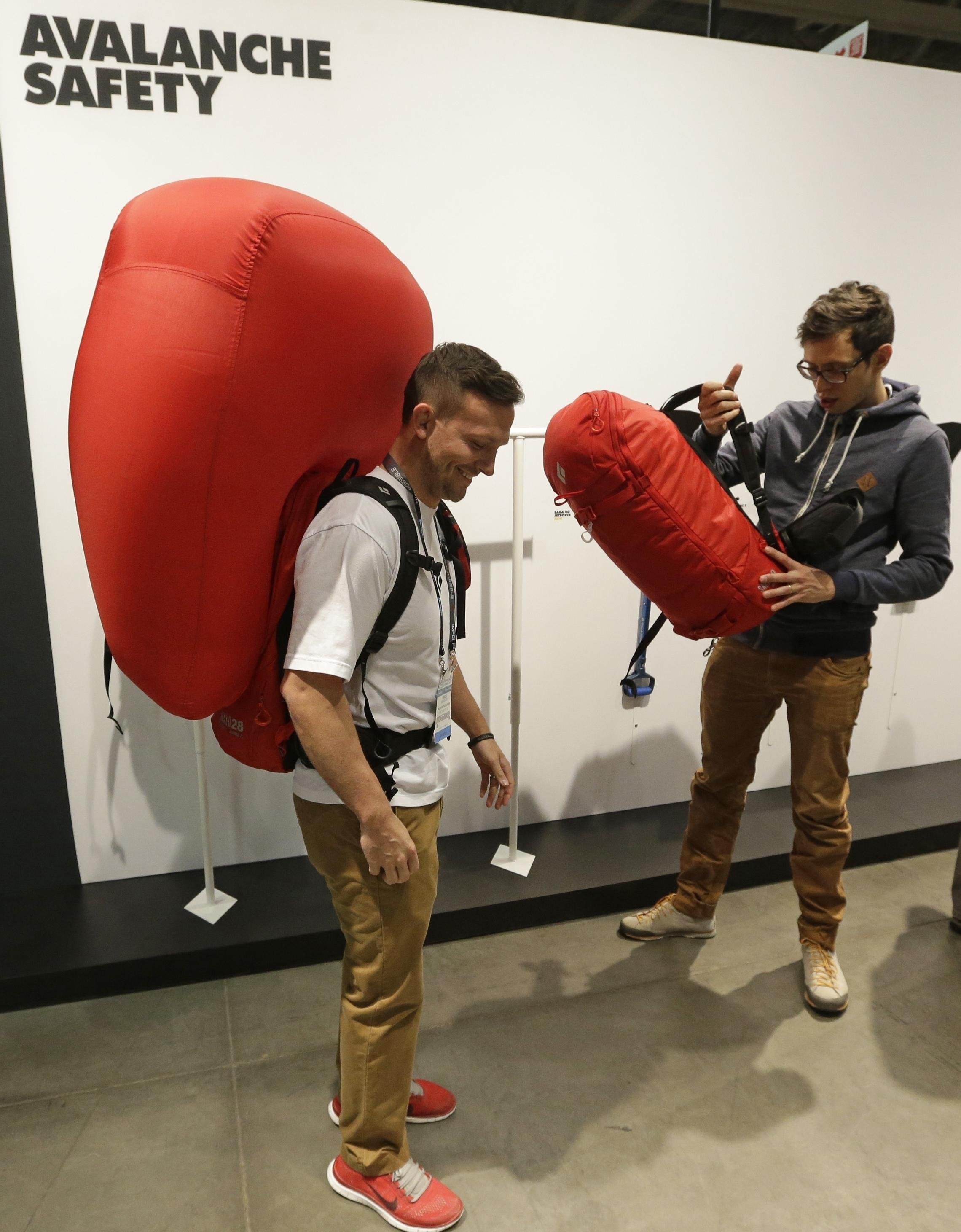 Derick Noffsinger Models A Deployed Avalanche Air Bag Pack Made By Black Diamond At An Industry Market In Salt Lake City Last Month