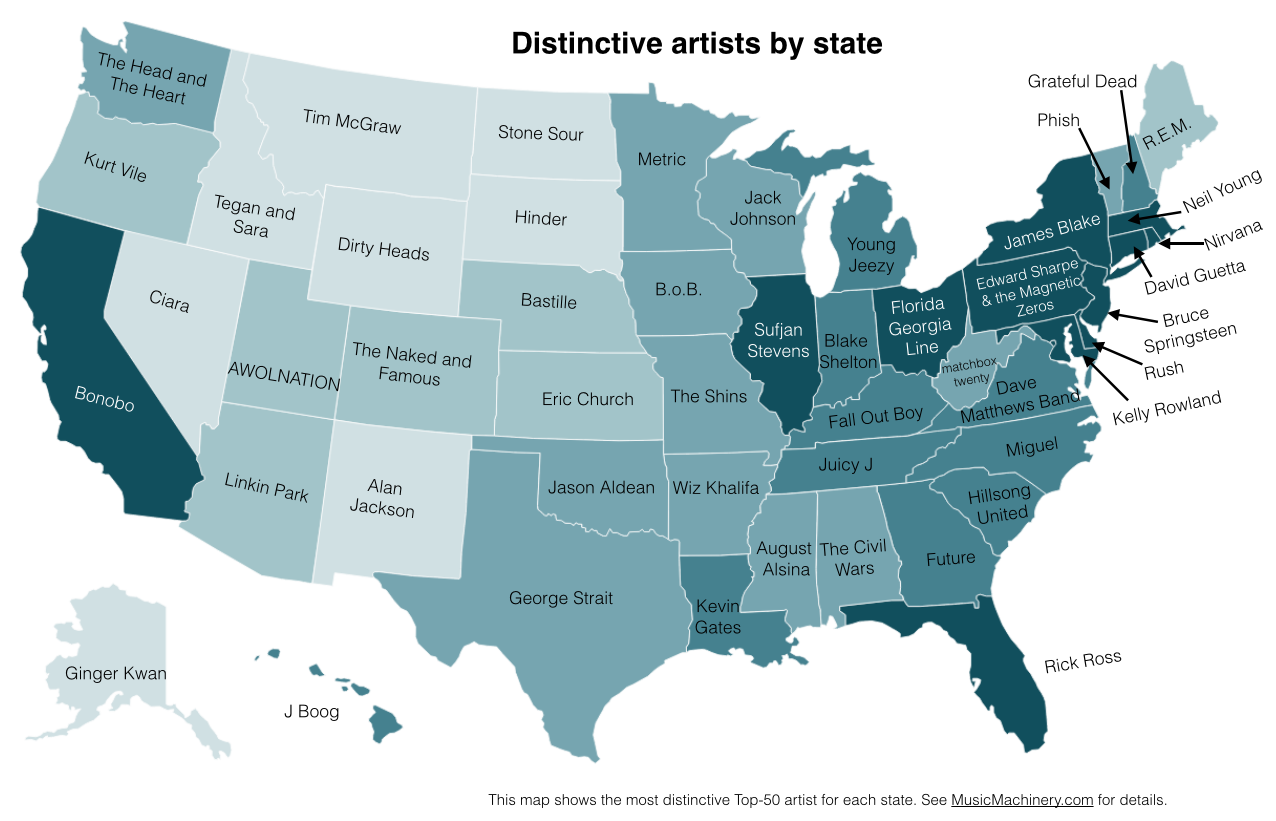 Mapping Differences In America S Musical Tastes State By State