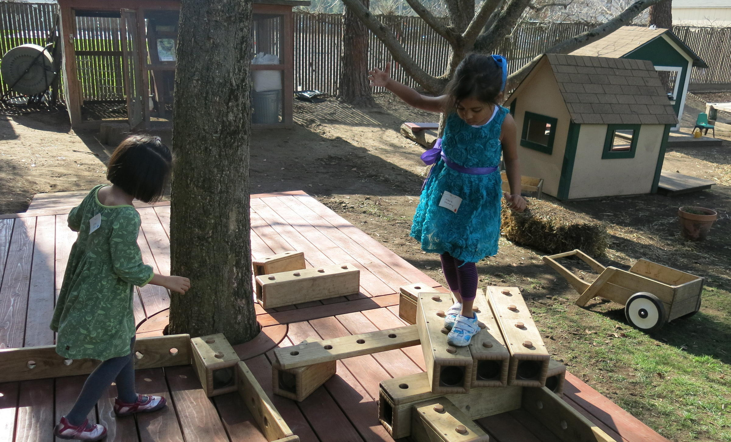 One Child S Stage Is Another Student Obstacle Course Preschoolers At Bing Nursery School Play With Outdoor Blocks