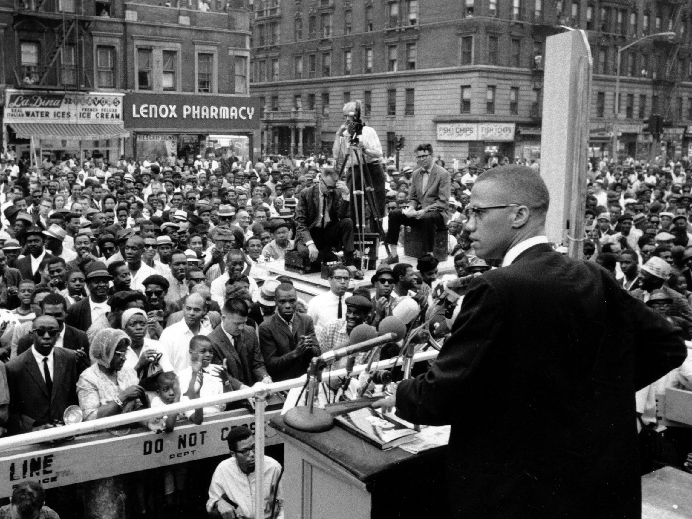 85a3b8a3c57 Malcolm X addresses a rally in Harlem in New York City on June 29