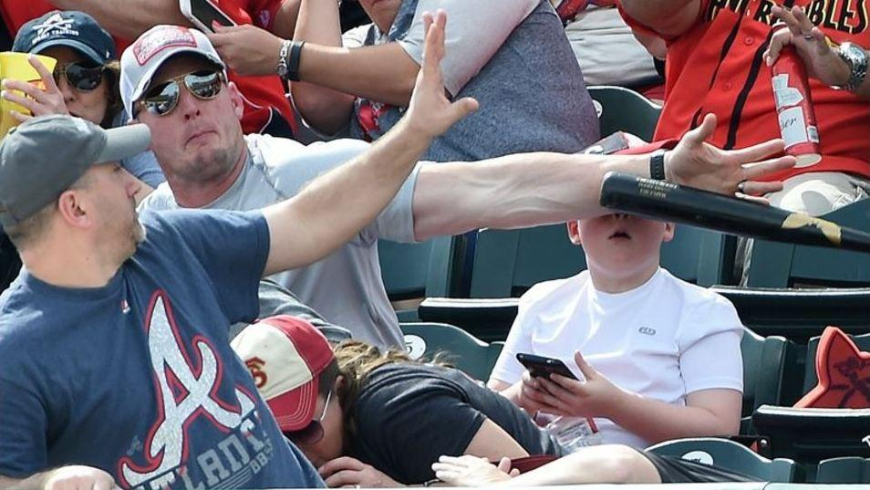 Phew Fan Saves Boy From Being Hit By A Flying Baseball Bat Knkx