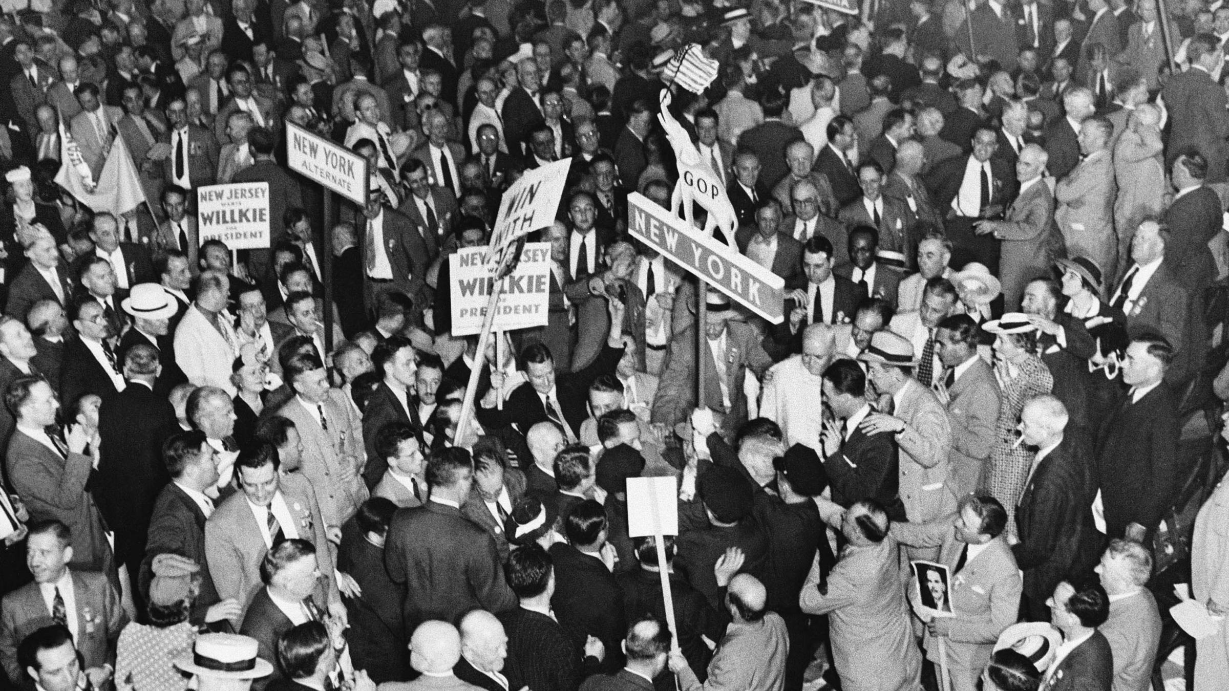 After Wendell Wilkie Was Nominated In Philadelphia 1940 Adherents The New York Delegation Tried To Take State Banner Into Parade And