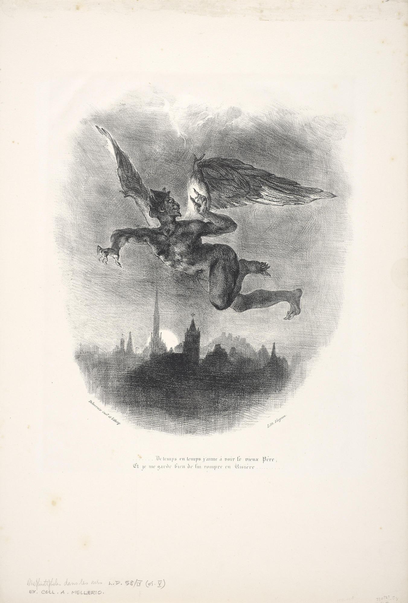 In eugène delacroixs 1827 lithograph mephistopheles aloft 1827 a demon flies over a dark city