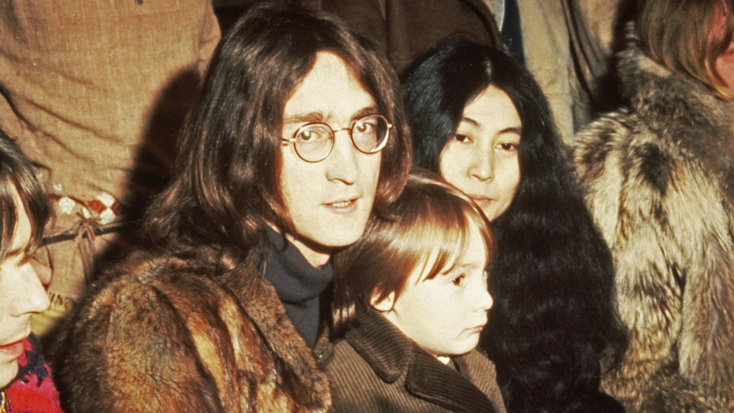 John Lennon With Yoko Ono And Son Julian At A 1968 Press Conference Internel Studios In Stonebridge Park Wembley