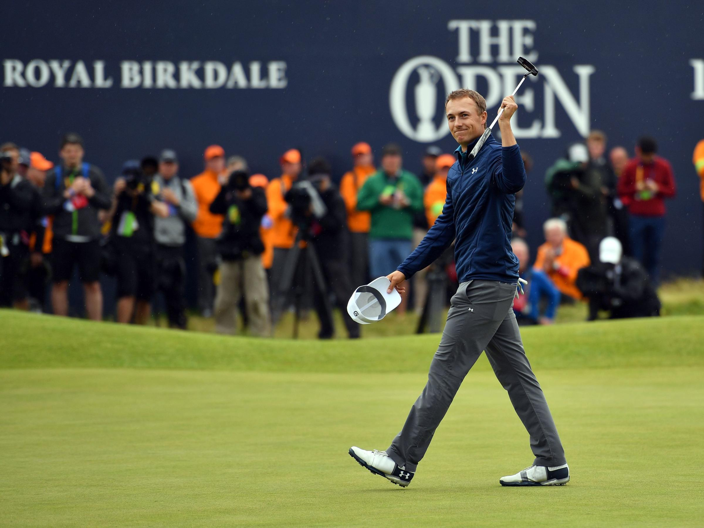 Jordan Spieth Celebrates On The 18th Green After His Final Round 69 To Win The 2017 Open Golf Championship At Royal Birkdale Golf Course In England On July