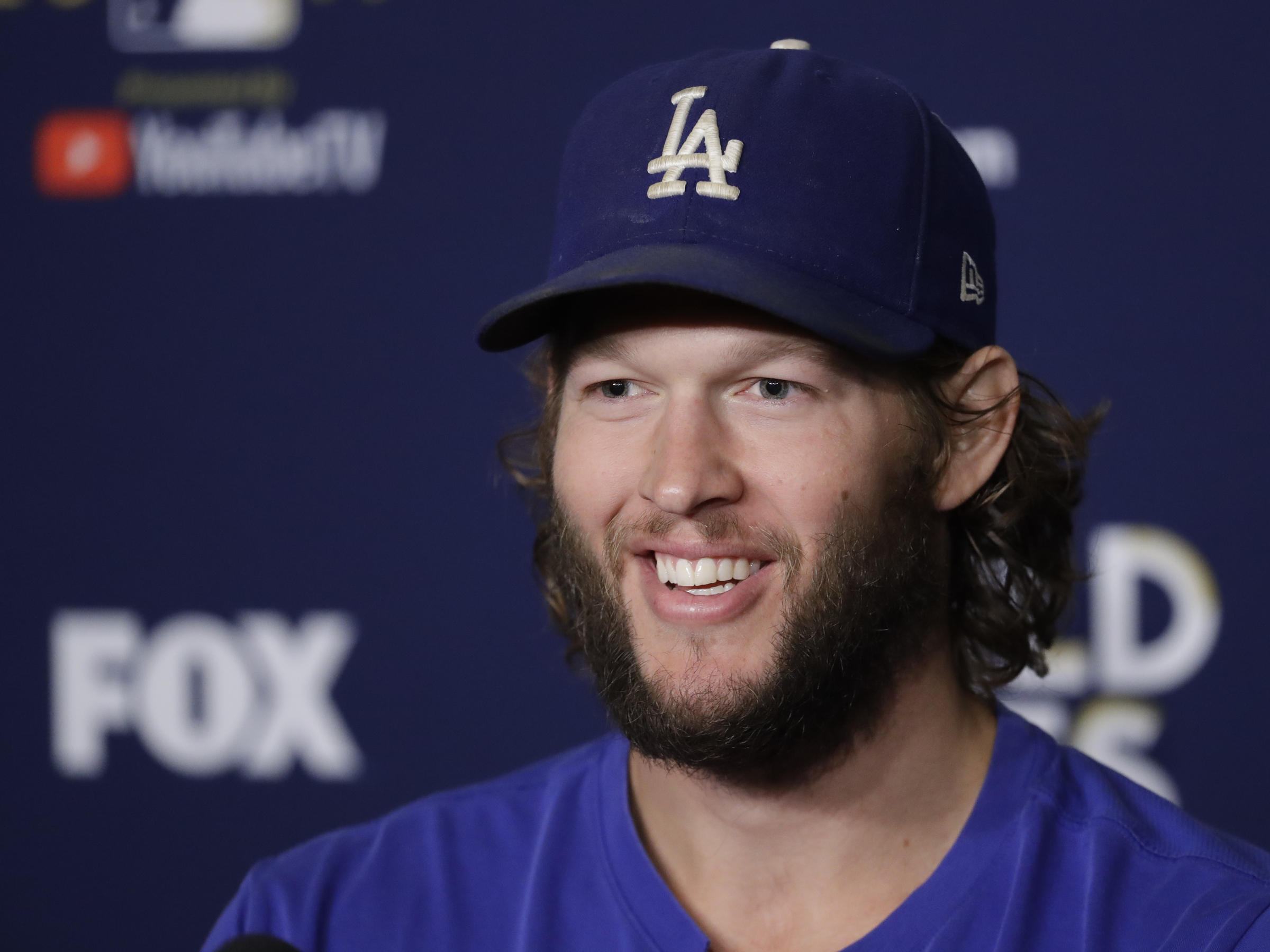 595082bd5 Los Angeles Dodgers starting pitcher Clayton Kershaw talks to reporters  about the team s World Series faceoff with the Houston Astros in Los Angeles .