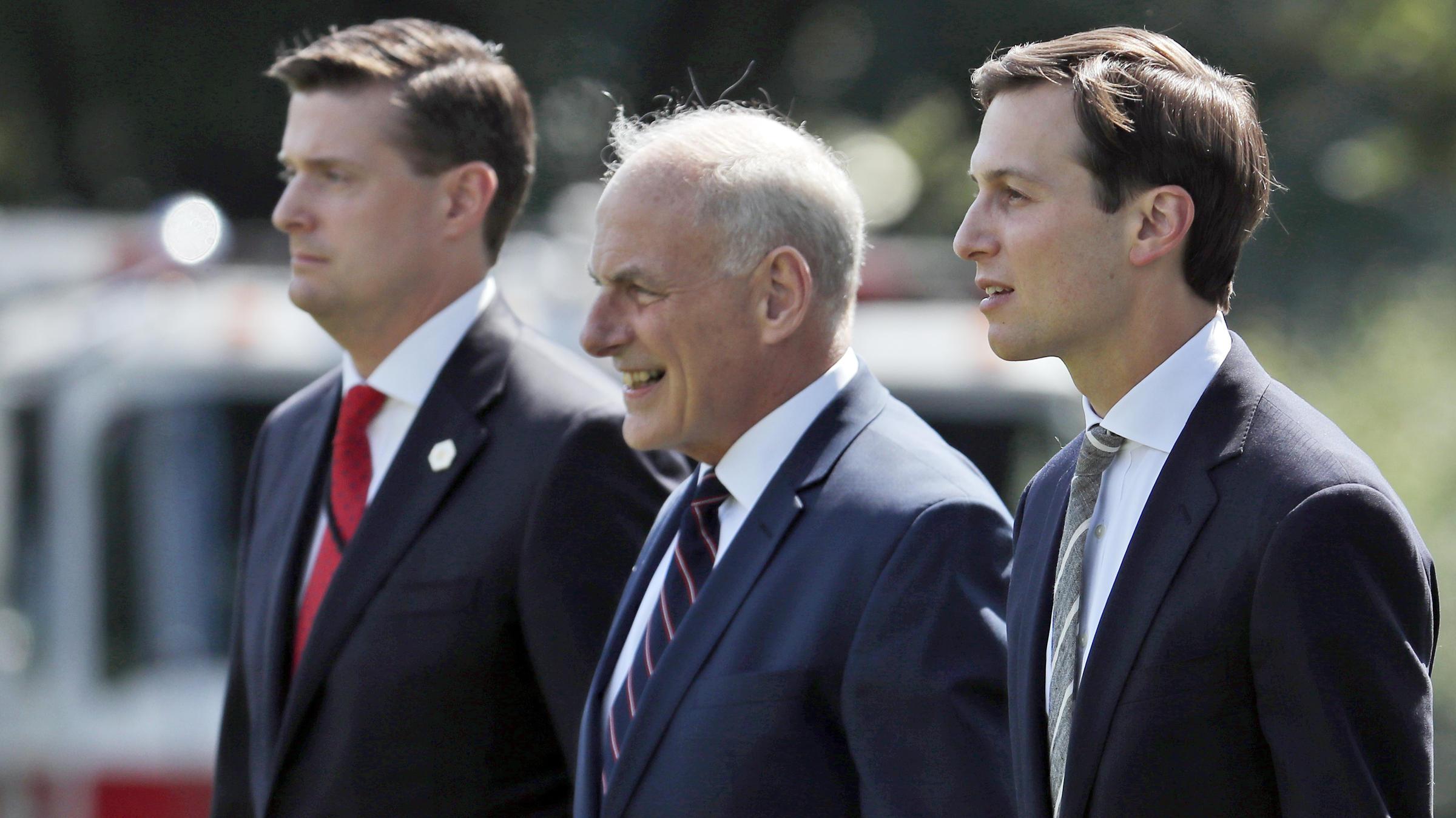 Former White House Staff Secretary Rob Porter (left), White House Chief Of  Staff