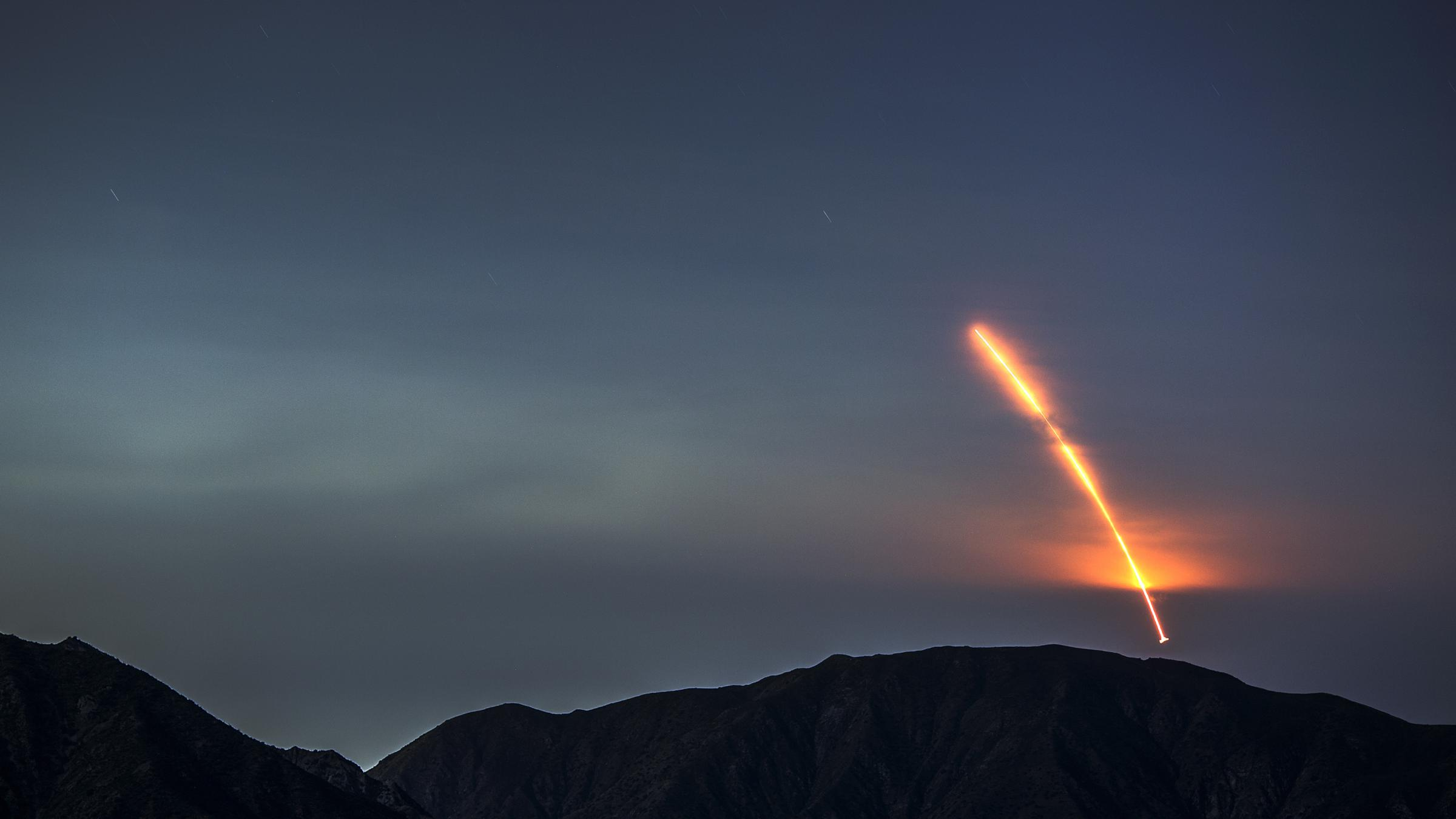 The Atlas V rocket carrying the Mars In Sight lander launches from Vandenberg Air Force Base as seen from the San Gabriel Mountains more than 100 miles away on Saturday morning. The In Sight probe is the first NASA lander designed entirely to study the