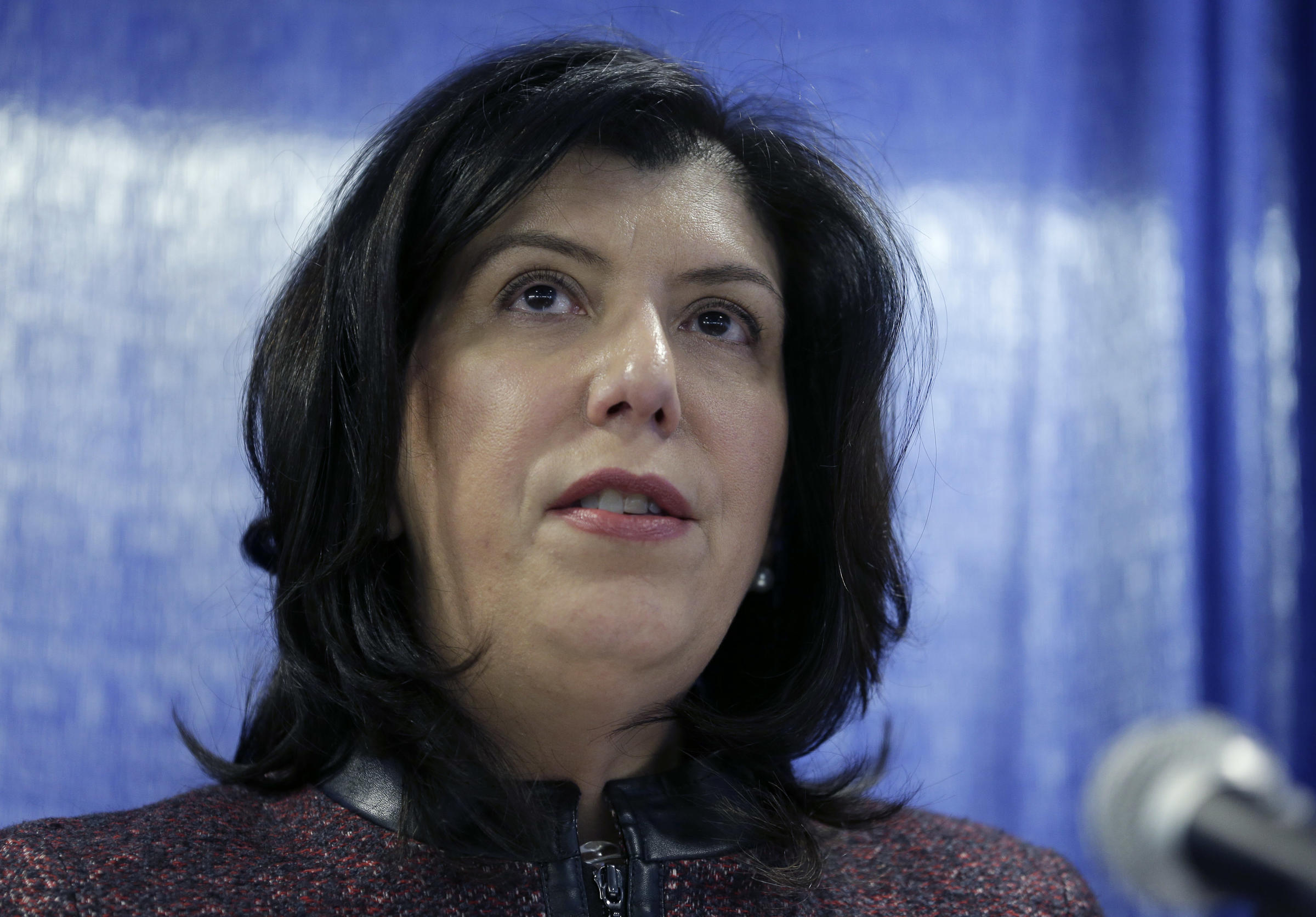 Nassau County District Attorney Madeline Singas speaks to reporters during a news conference in Mineola N.Y. in January