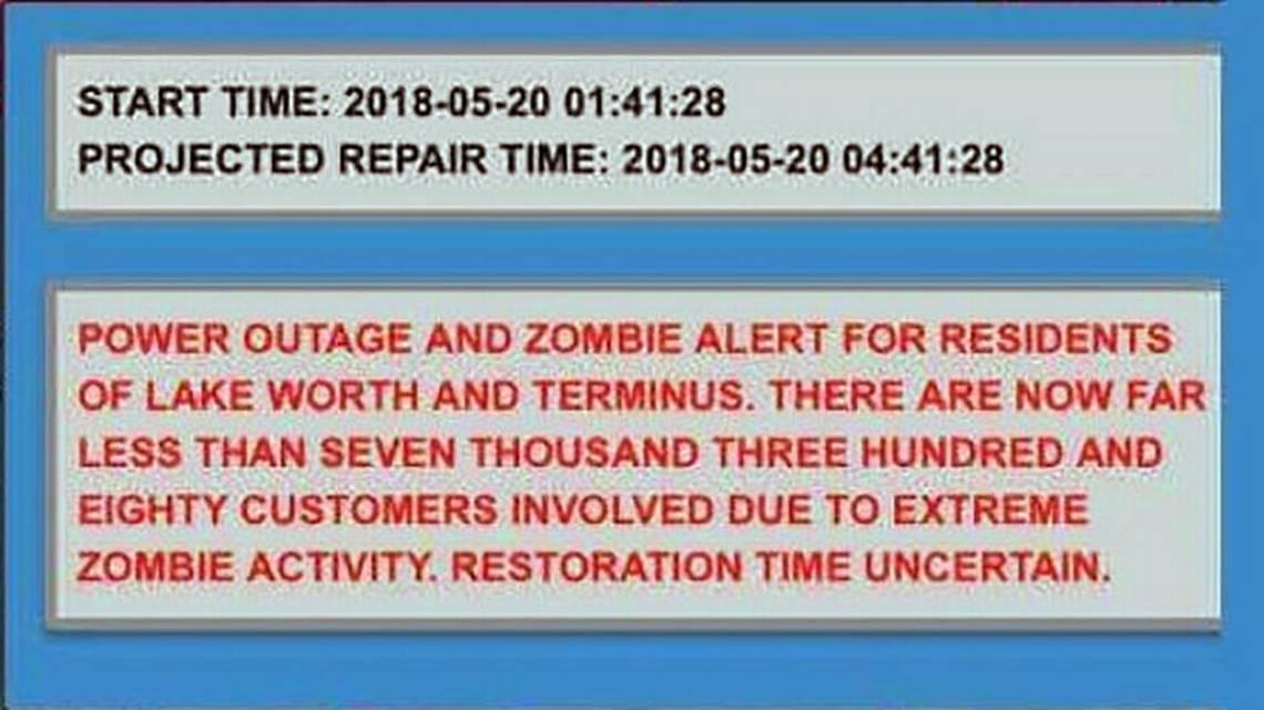 Florida City Warns Residents Of Power Outage 'Due To Extreme Zombie Activity'
