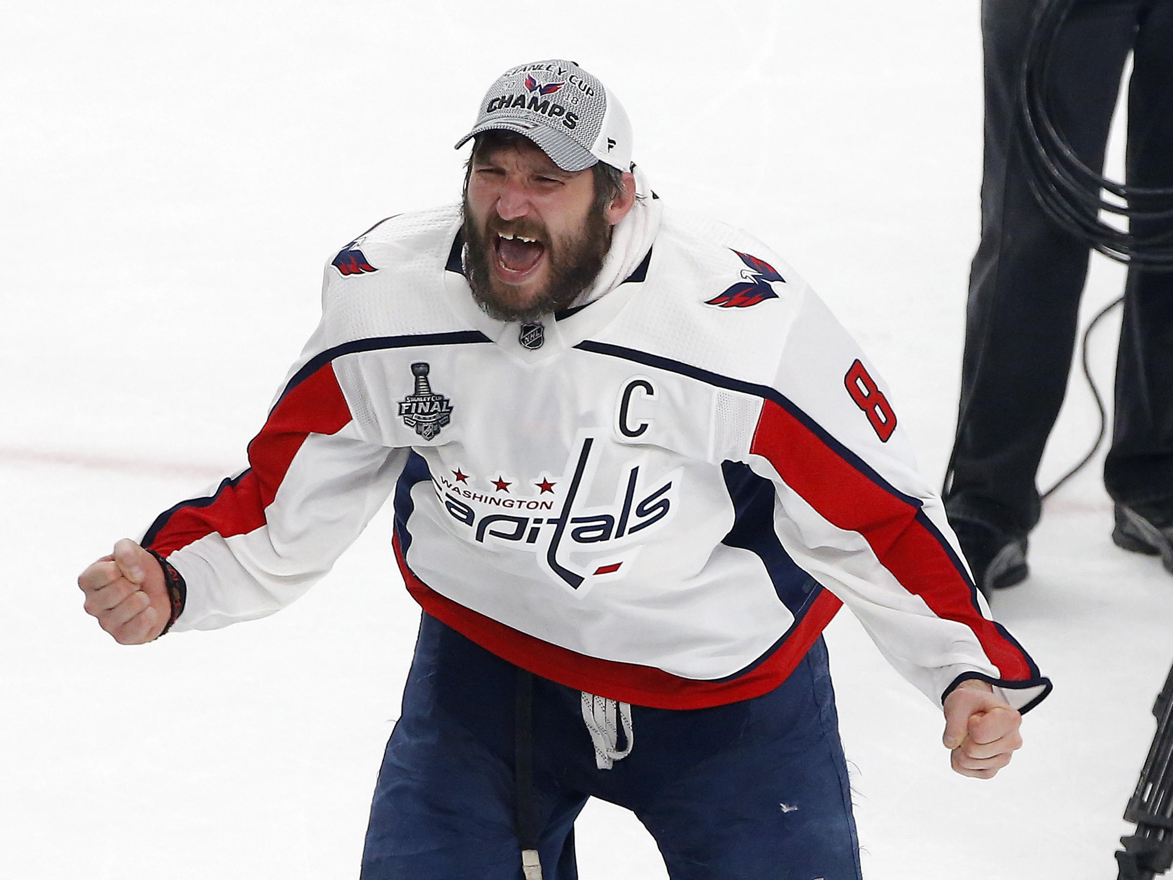 Alex Ovechkin celebrates on the ice after the Capitals defeated the Vegas  Golden Knights to win 5f4bf94330