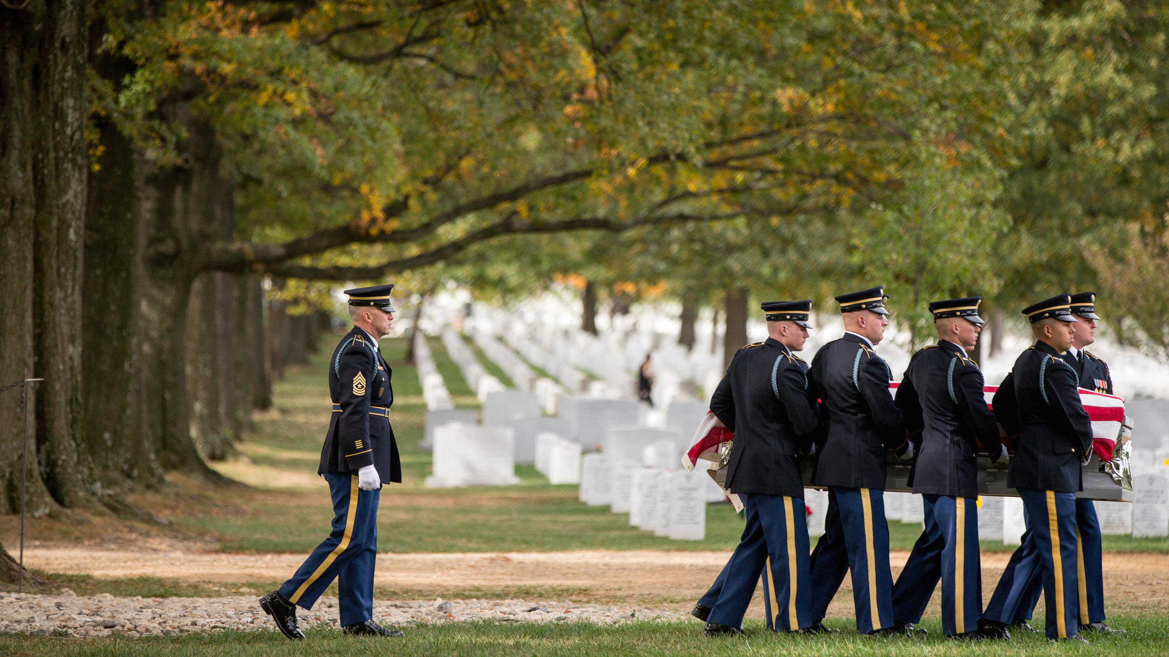 A casket team carries the remains of U.S. Army Cpl. Robert E. Meyers a Korean War soldier at Arlington National Cemetery in 2015. Meyers&#039 remains were identified decades after his unit was involved in combat operations near Sonchu North Korea