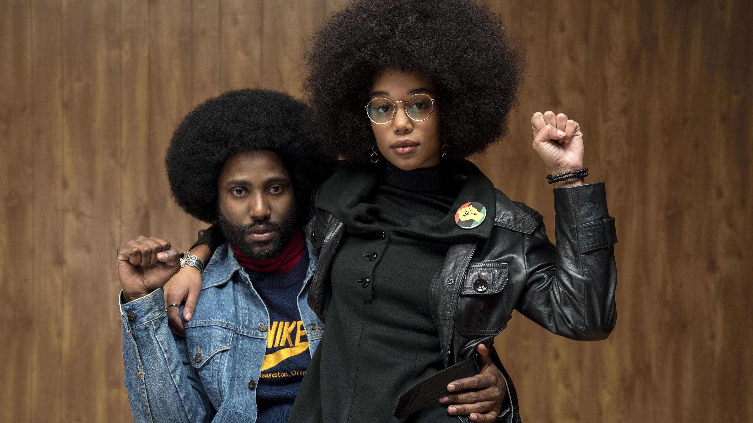 Ron and Patrice strike power poses in Spike Lee's BlacKkKlansman