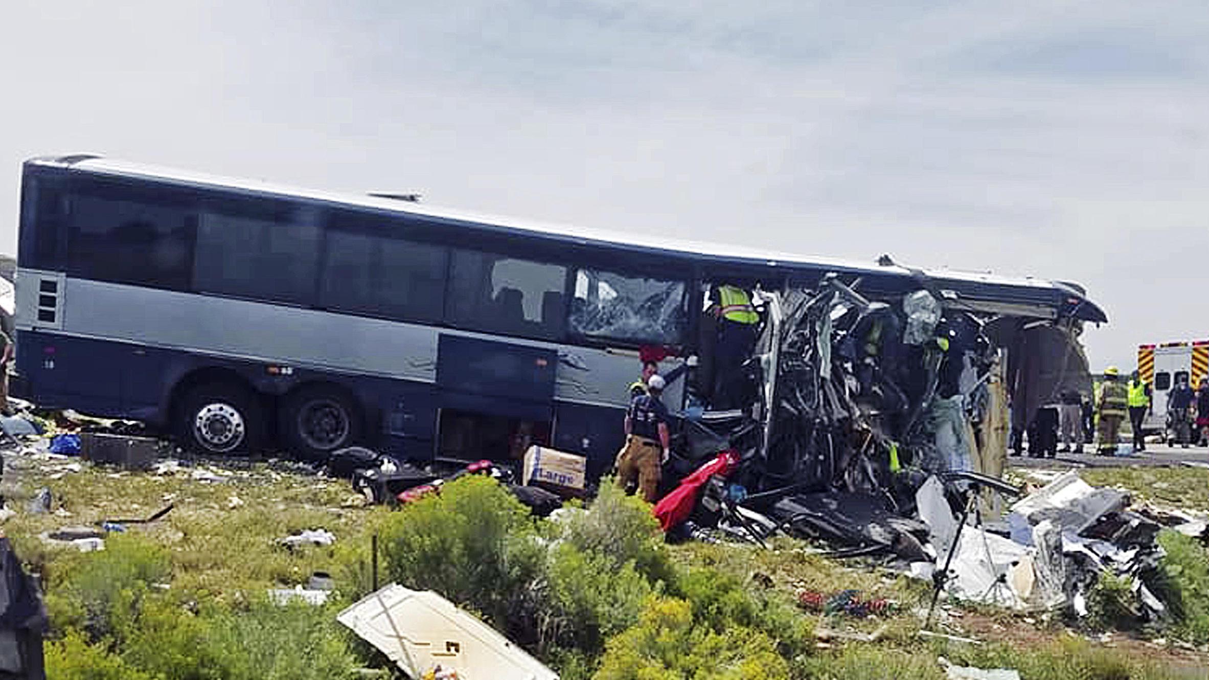 At least 7 die as Greyhound bus, semitrailer collide head-on