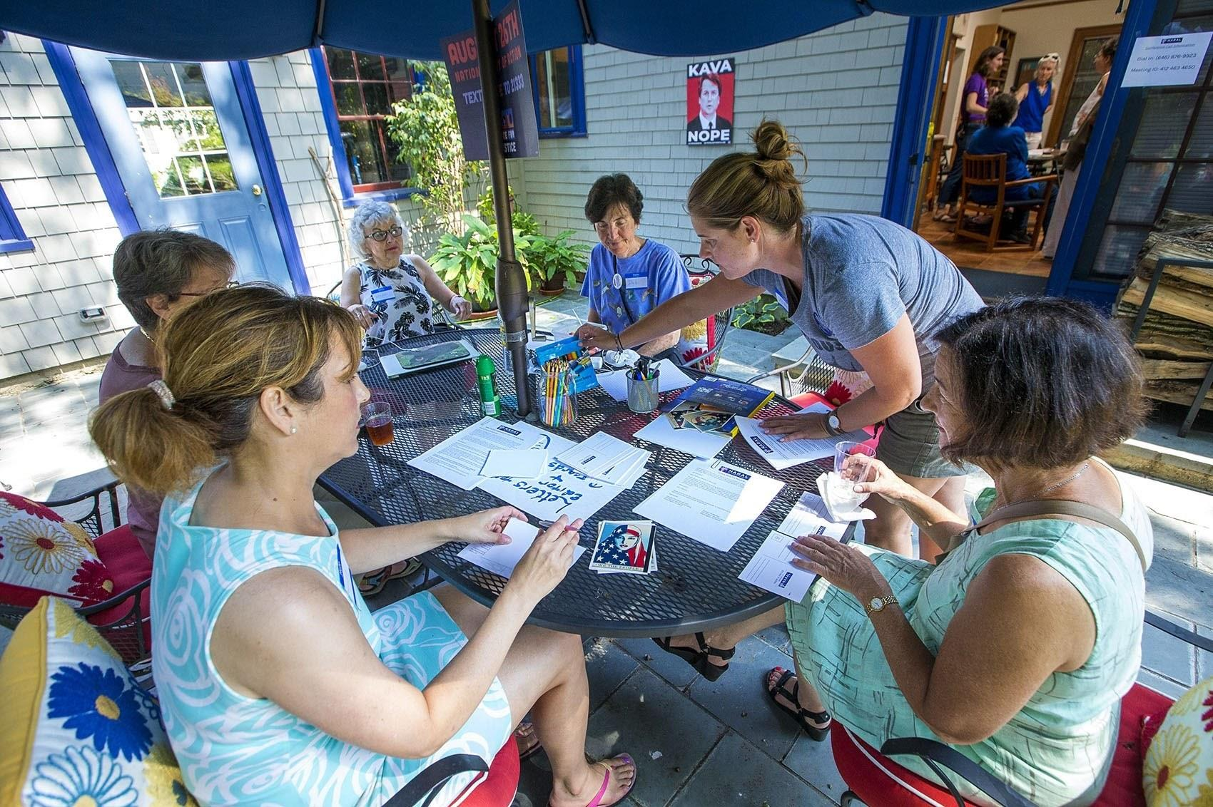 NARAL volunteers write letters and postcards to senators and news outlets around the country protesting the nomination of Judge Brett Kavanaugh to the Supreme Court