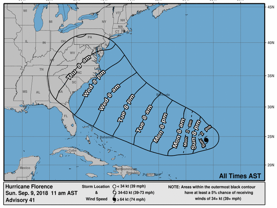Florence expected to approach arrive at the U.S. East Coast late this week has just been named a Hurricane