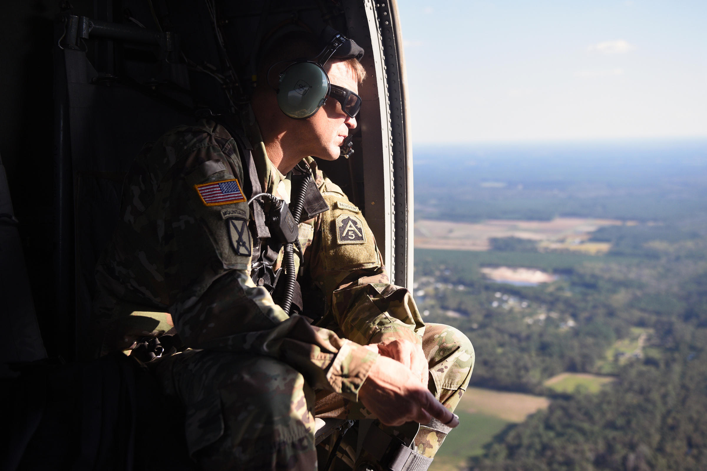 Lt. Gen. Jeffrey Buchanan surveys flooding and damage from Hurricane Florence during a helicopter ride from Raleigh to Wilmington N.C. on Wednesday. Buchanan also assisted after Hurricane Maria in Puerto Rico