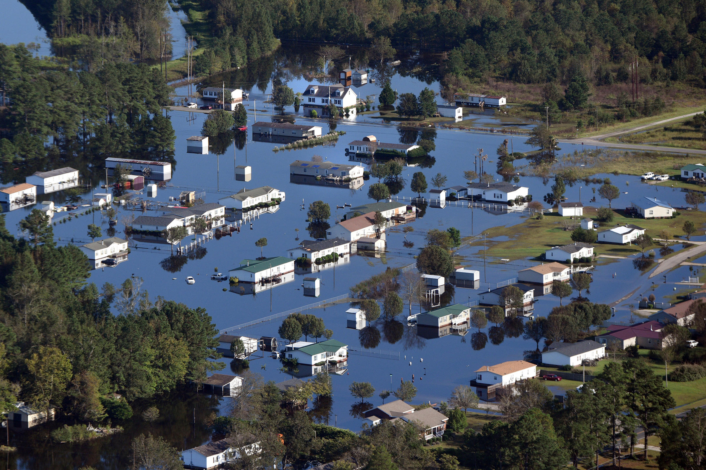 Aerial views of flooding and submerged homes in Lumberton N.C. on Thursday