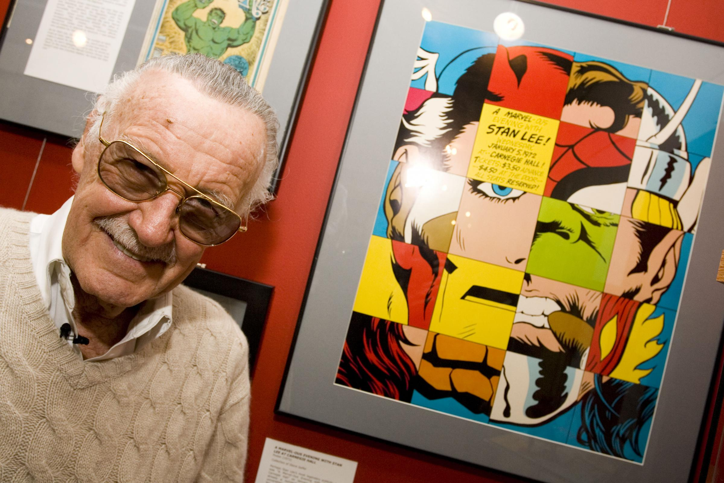Comic Book Legend Stan Lee Poses At The Opening Reception For A Retrospective Presented By Museum Of And Cartoon Art On Feb
