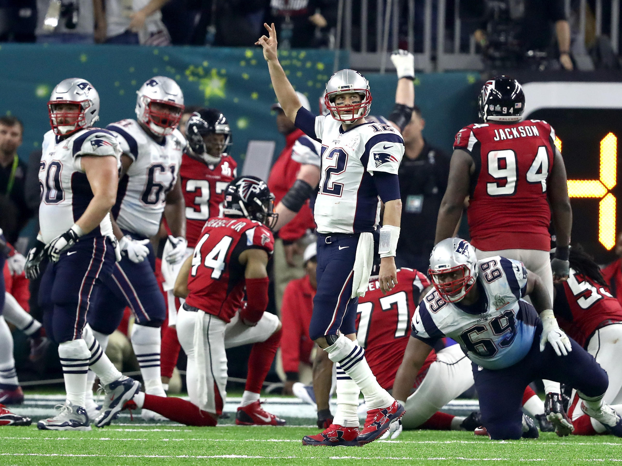 Tom Brady of the New England Patriots calls for a two-point try in the  fourth quarter of the Super Bowl. The Patriots converted that attempt to  send the ... 9fa348326