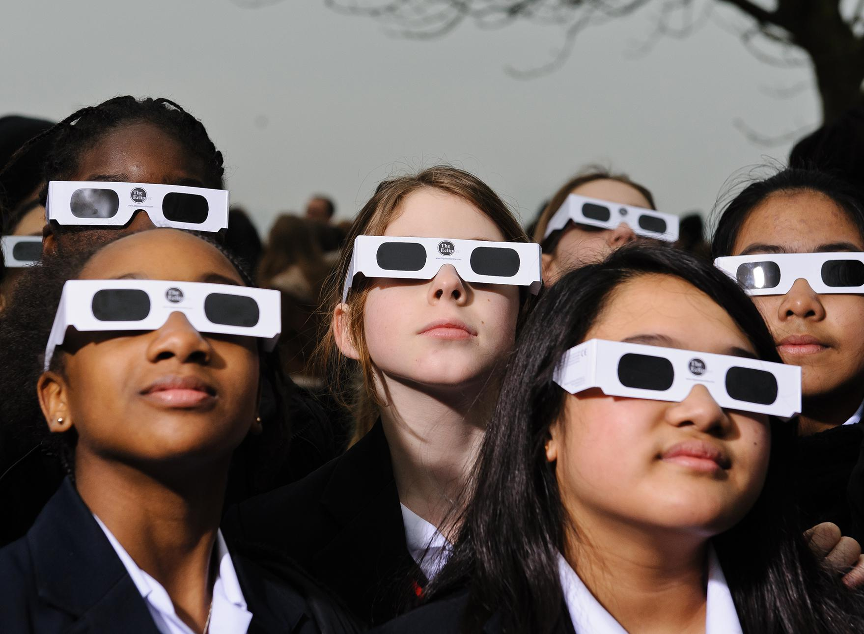 164b7fad41c Proper eye protection is a must for anyone looking up at a solar eclipse.  Eclipse glasses are far darker than regular sunglasses.