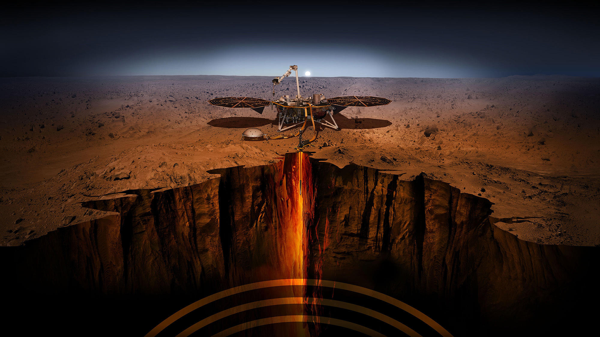 An artist's depiction of In Sight — short for Interior Exploration using Seismic Investigations Geodesy and Heat Transport. The spacecraft has been designed to give Mars its first thorough checkup since the Red Planet formed about 4.5 billion years