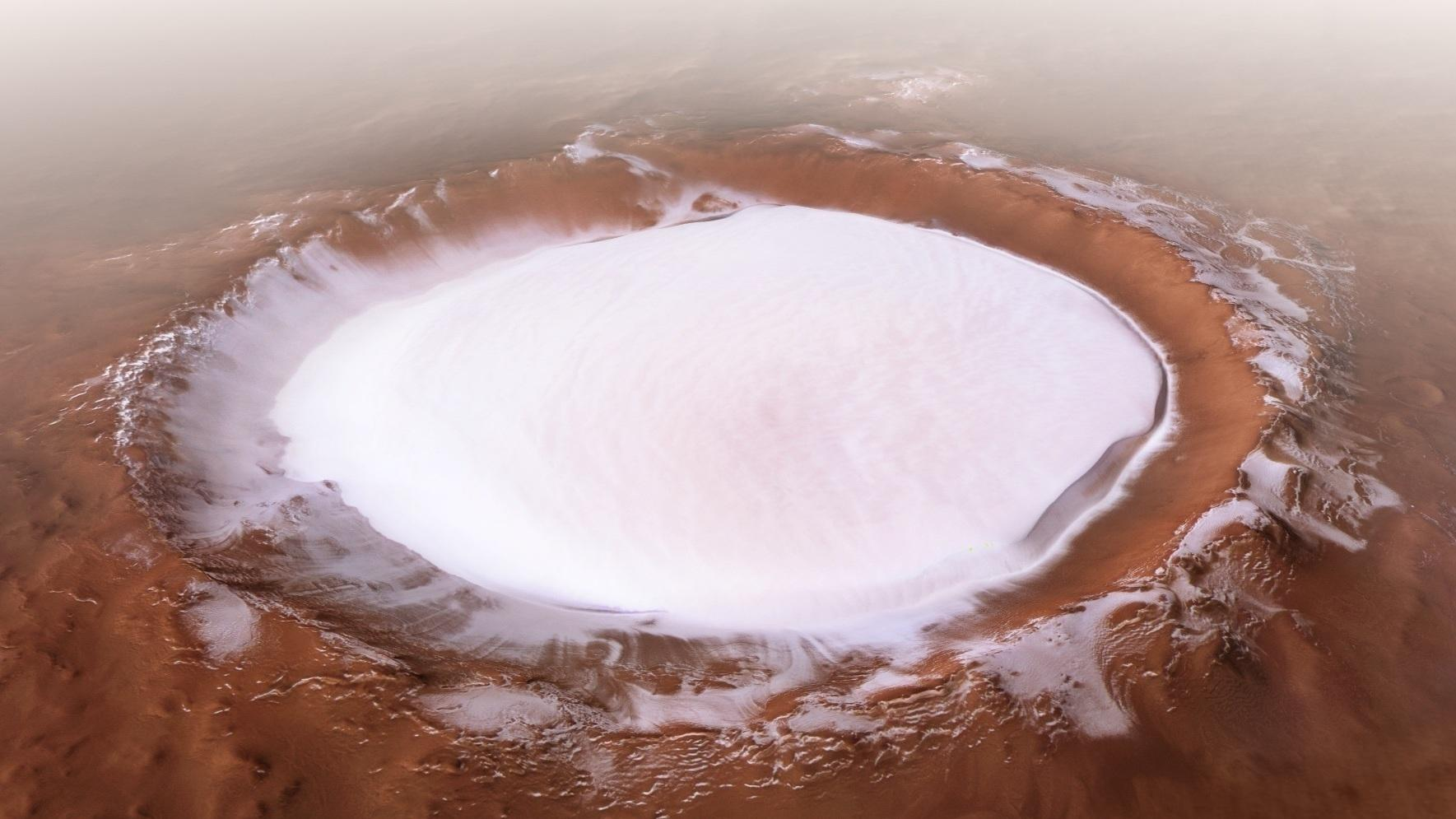 Water on Mars PICTURED: ESA shares incredible IMAGES of Martian ice crater