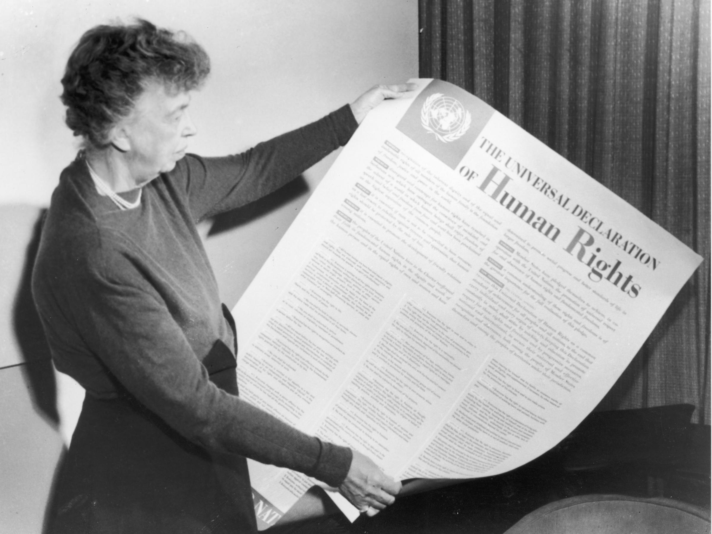 boundlessly idealistic, universal declaration of human rights is International Human Rights Law eleanor roosevelt holds up a copy of the universal declaration of human rights, adopted by the united nations in december 1948
