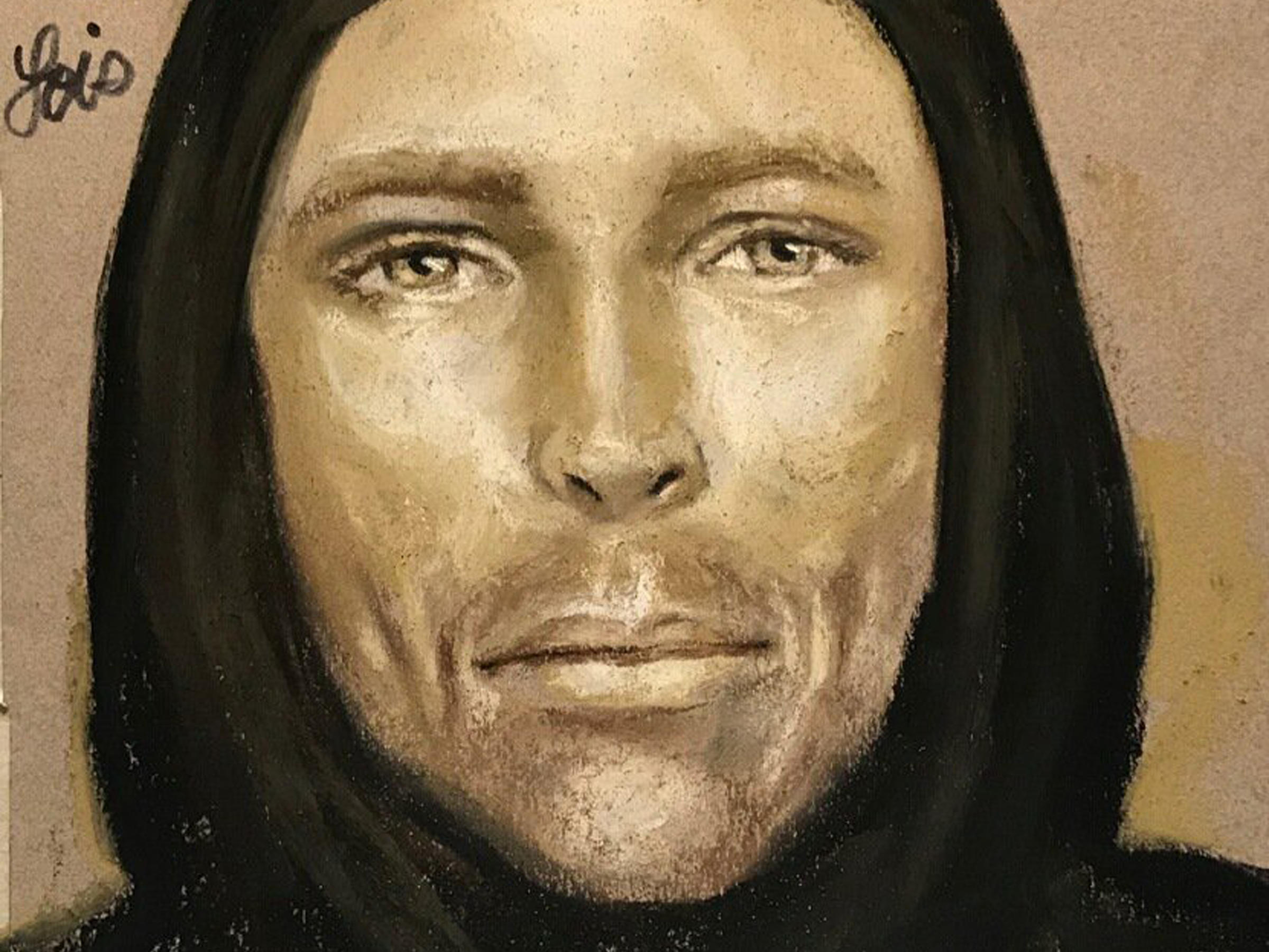 This sketch provided by the Harris County Sheriff's Office in Houston Texas shows an artist's rendition of the suspect in the fatal shooting of 7-year-old Jazmine Barnes on Sunday in Houston