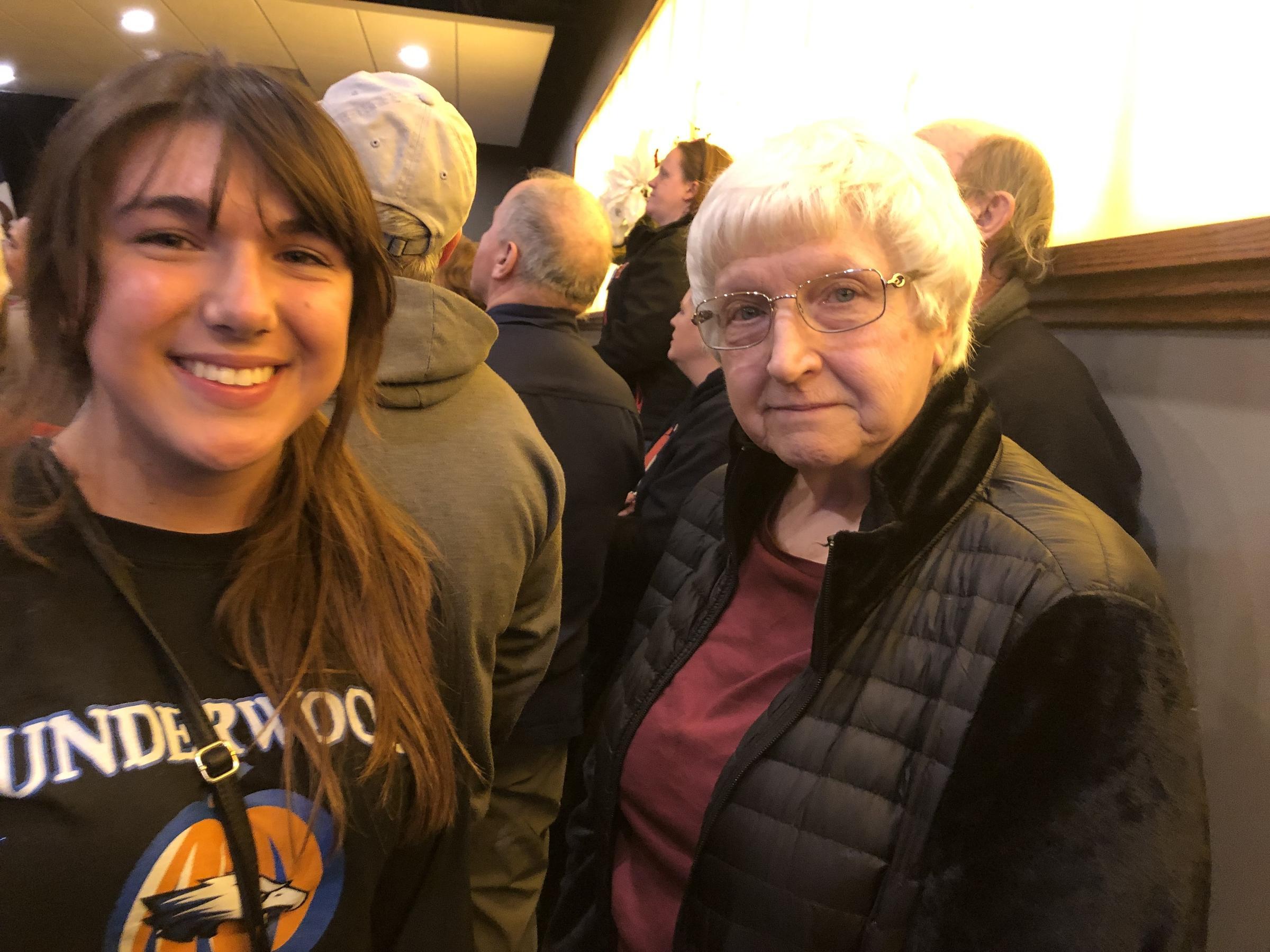 Marilynn Leggio right and her granddaughter Maggie Bashore at an Elizabeth Warren event in Council Bluffs Iowa