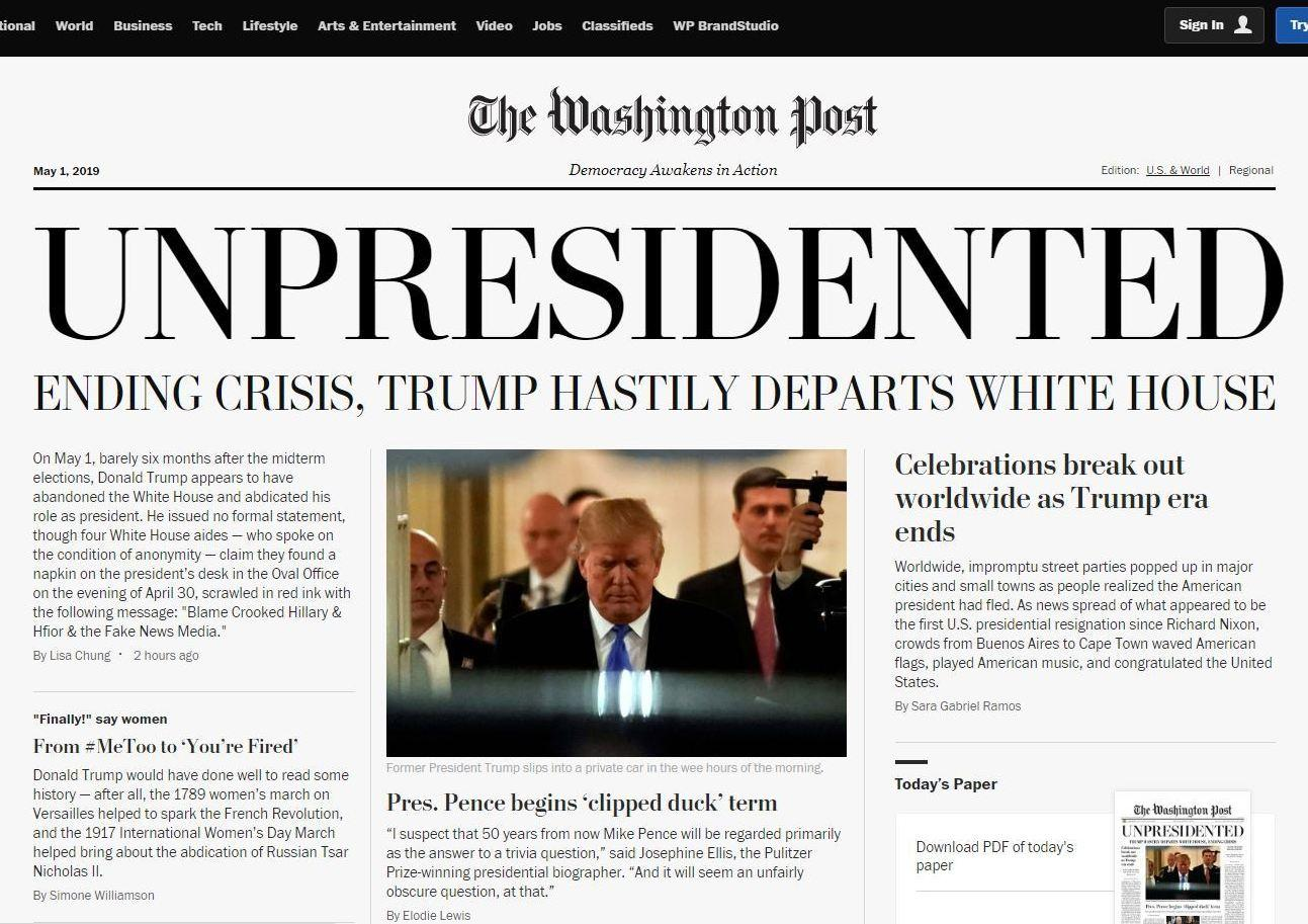8a0ac8e3e1135 A screenshot of the online version of a satirical edition of The Washington  Post distributed around Washington