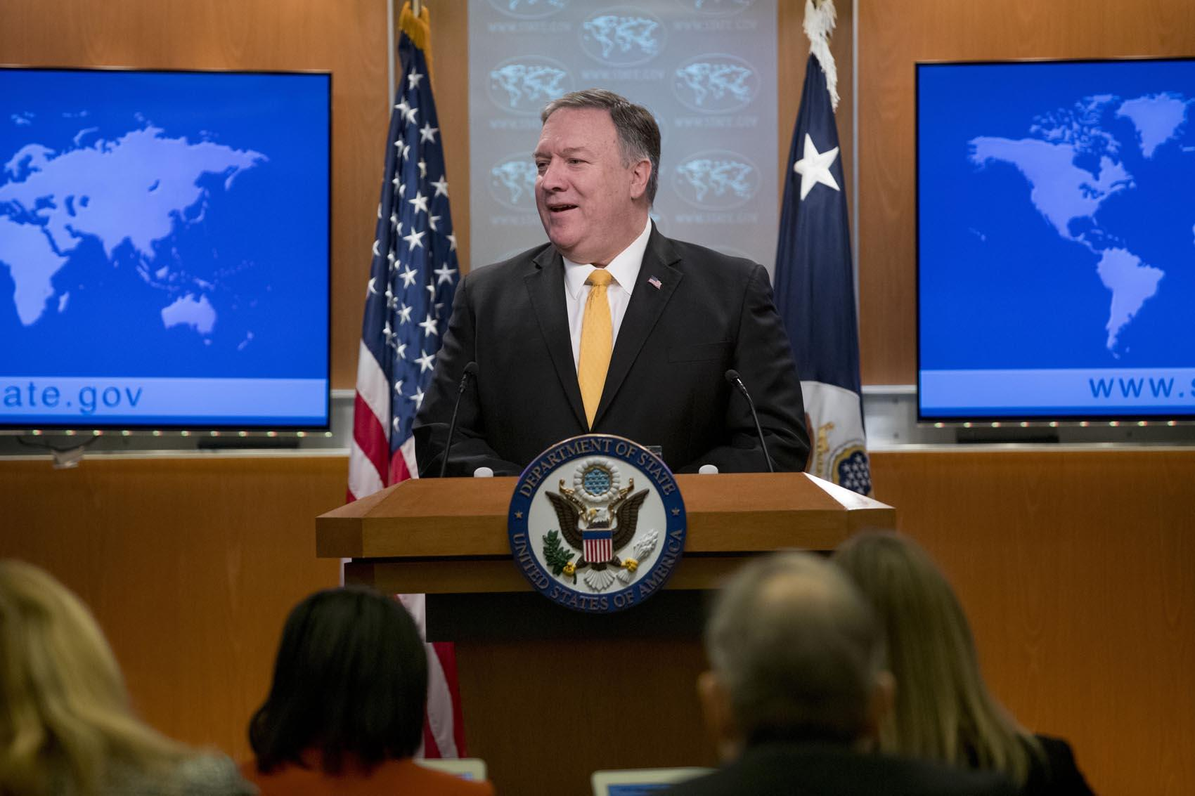 Secretary of State Mike Pompeo speaks at a news conference at the State Department in Washington Friday Feb. 1 2019. Secretary of State Mike Pompeo has announced that the U.S. is pulling out of a treaty with Russia that's been a centerpiece of arm