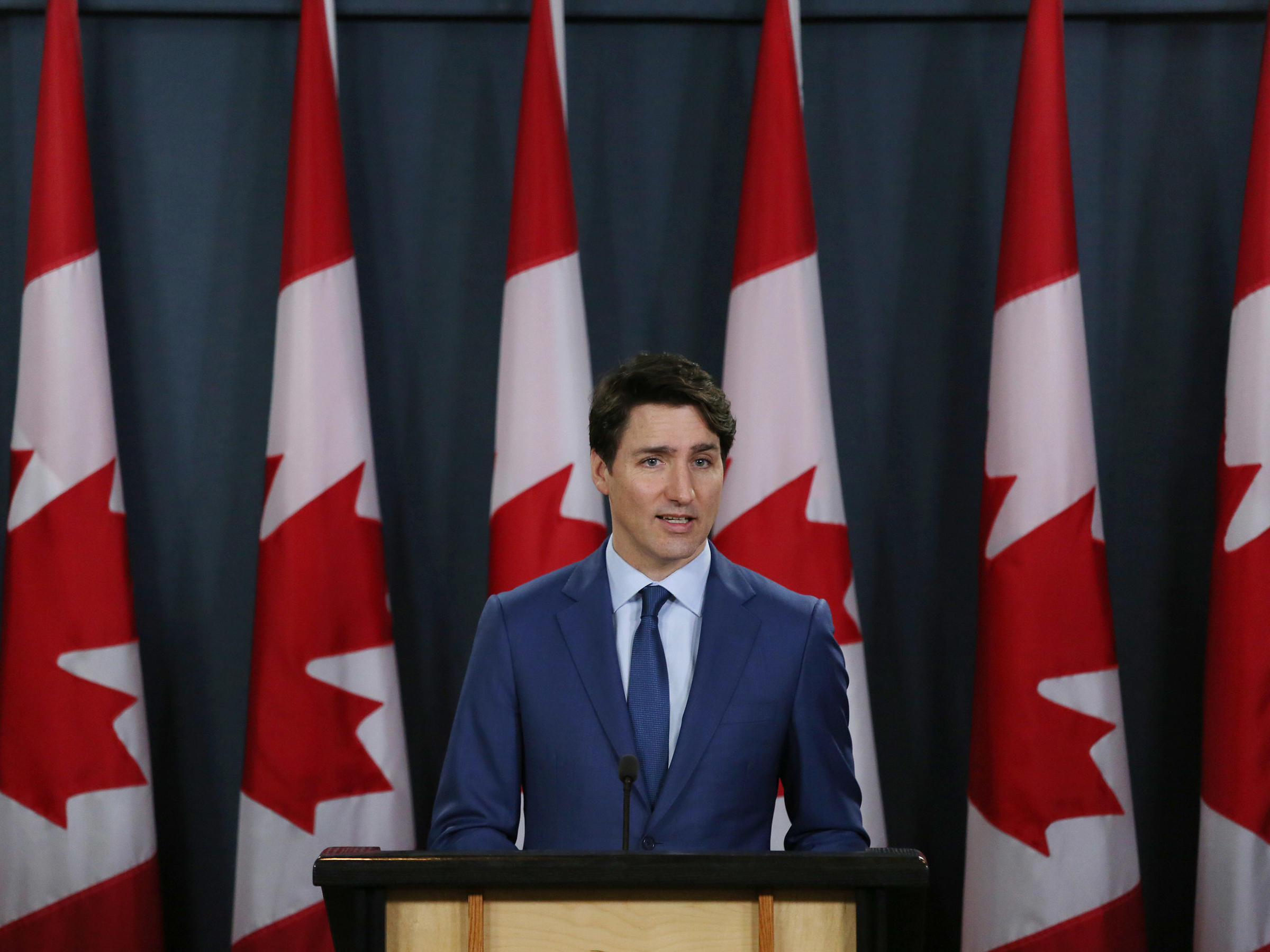 Canada's Prime Minister Justin Trudeau talks to reporters at a news conference on March 7 in Ottawa Canada. He was accused of interfering in a criminal investigation of SNC-Lavalin a powerful engineering firm