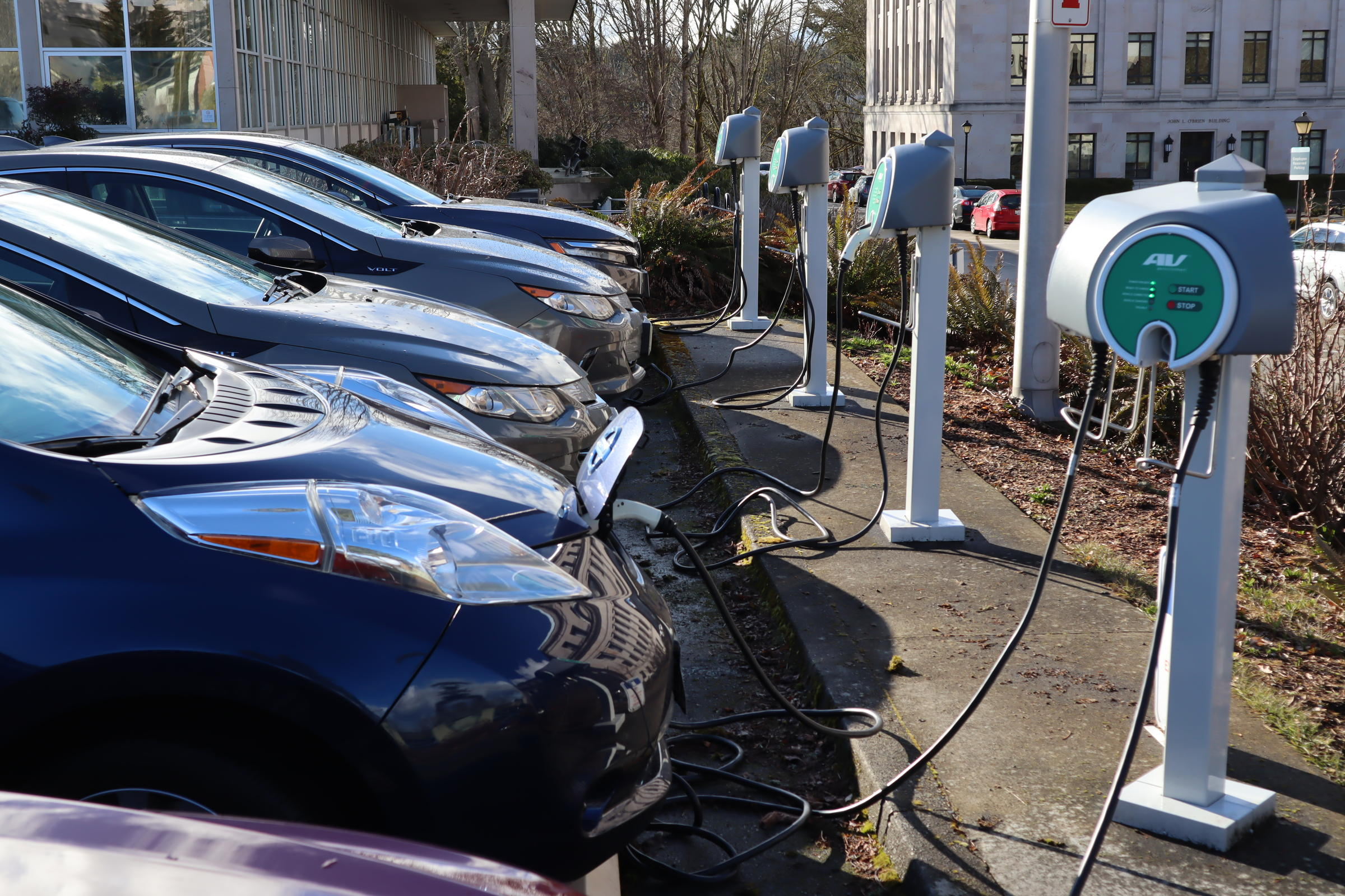 Electric Cars Parked At The Washington State Capitol Thursday