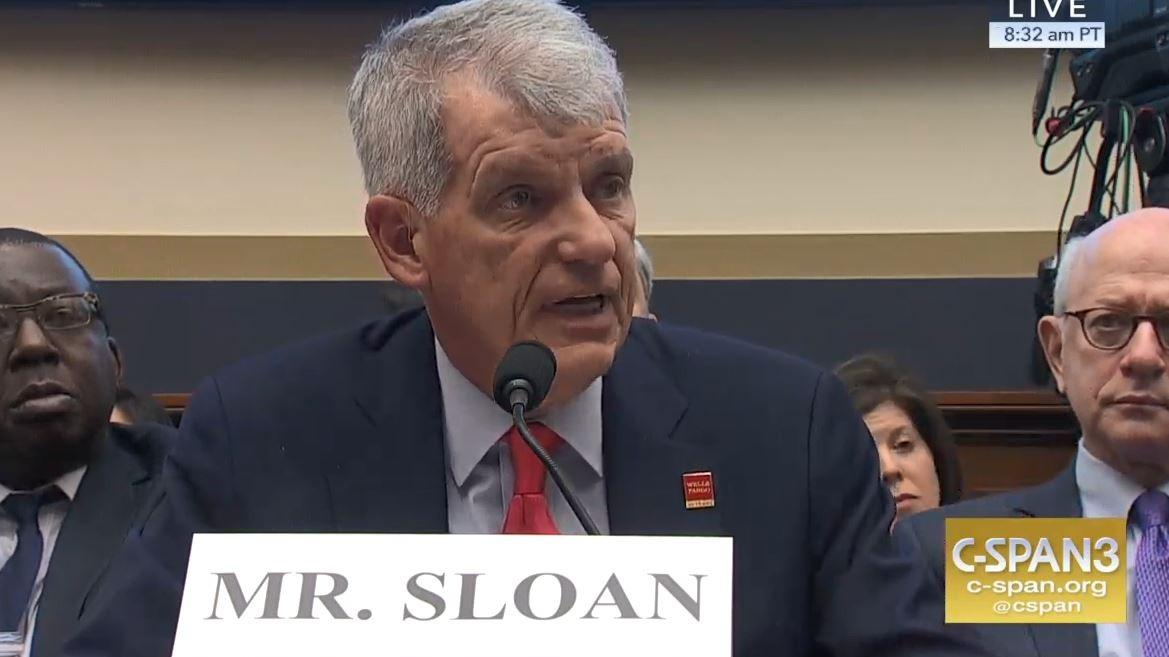 Wells Fargo CEO Tim Sloan testifies before a congressional hearing Tuesday