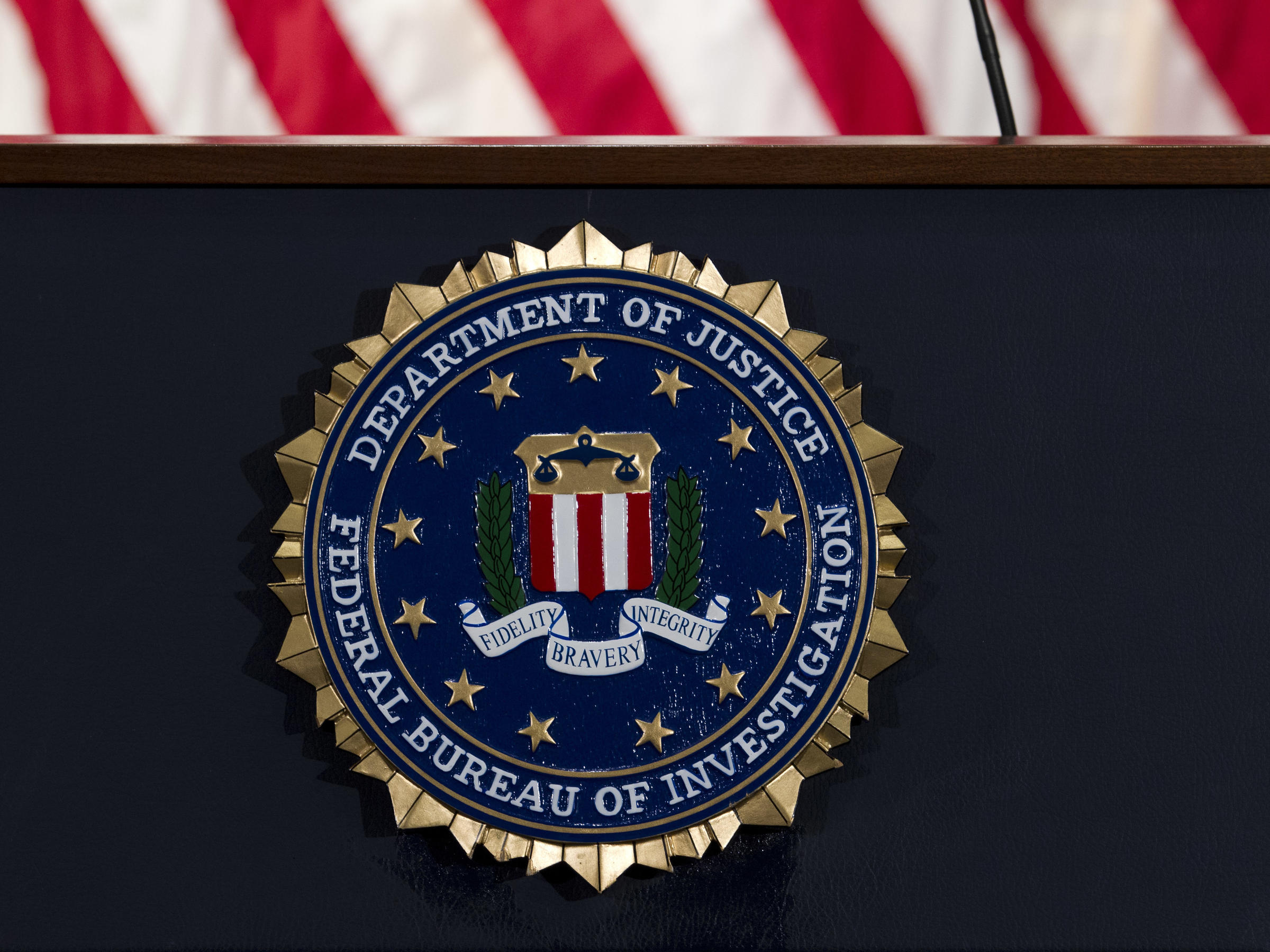 The FBI seal photographed in 2018. On Tuesday, federal prosecutors arrested and charged a 20-year-old woman in Georgia with conspiring to provide material ...